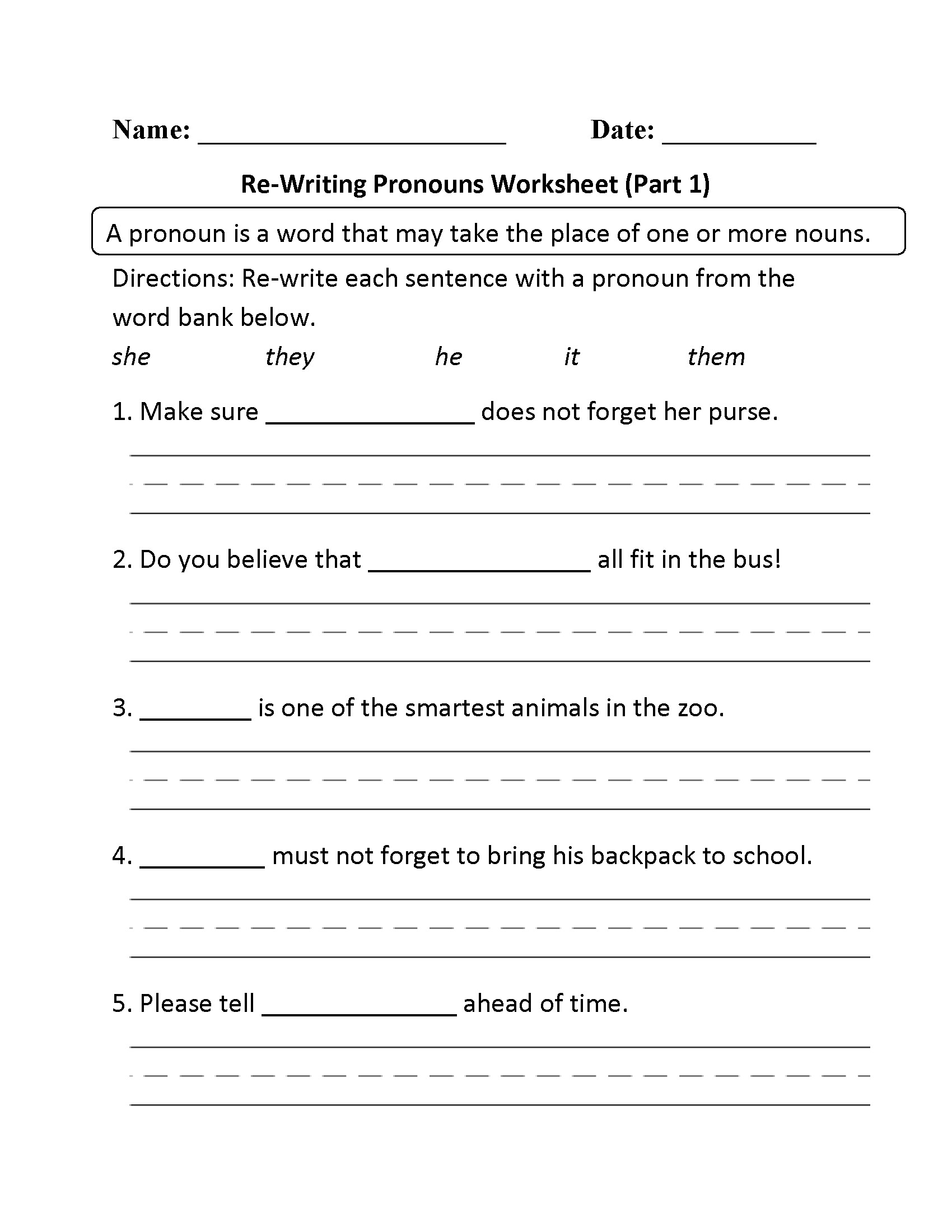 Pronoun Worksheet for 2nd Grade Free Pronoun Worksheet for 2nd Grade