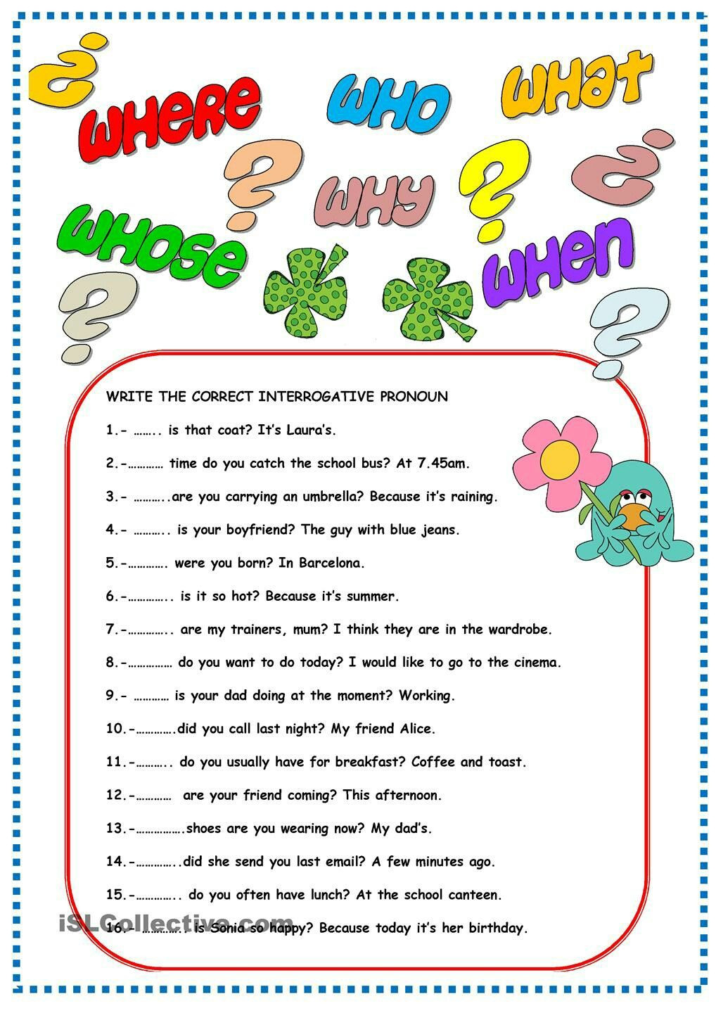 Pronoun Worksheet for 2nd Grade Interrogative Pronouns