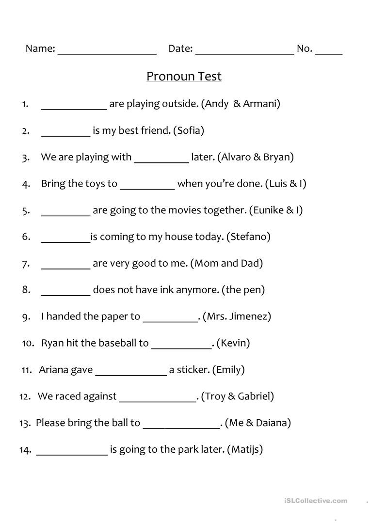 Pronoun Worksheet for 2nd Grade Pronoun Test English Esl Worksheets for Distance Learning