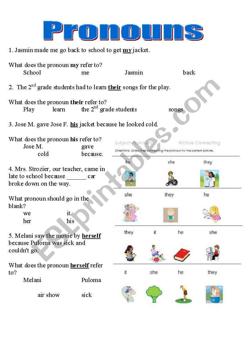 Pronoun Worksheets 2nd Grade Pronouns Worksheet Y6 Printable Worksheets and Activities