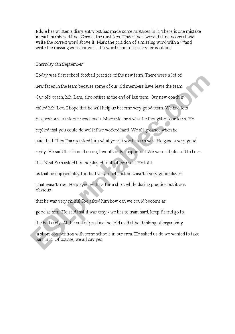 Proofreading Worksheets High School Proofreading Exercises Esl Worksheet by Inyourlove