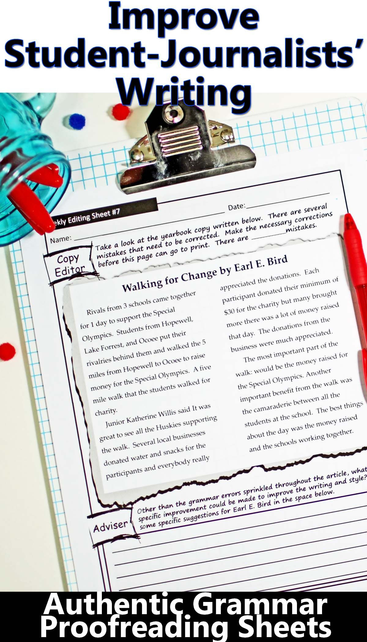 Proofreading Worksheets High School Yearbook Grammar Proofreading Worksheets Editable Digital