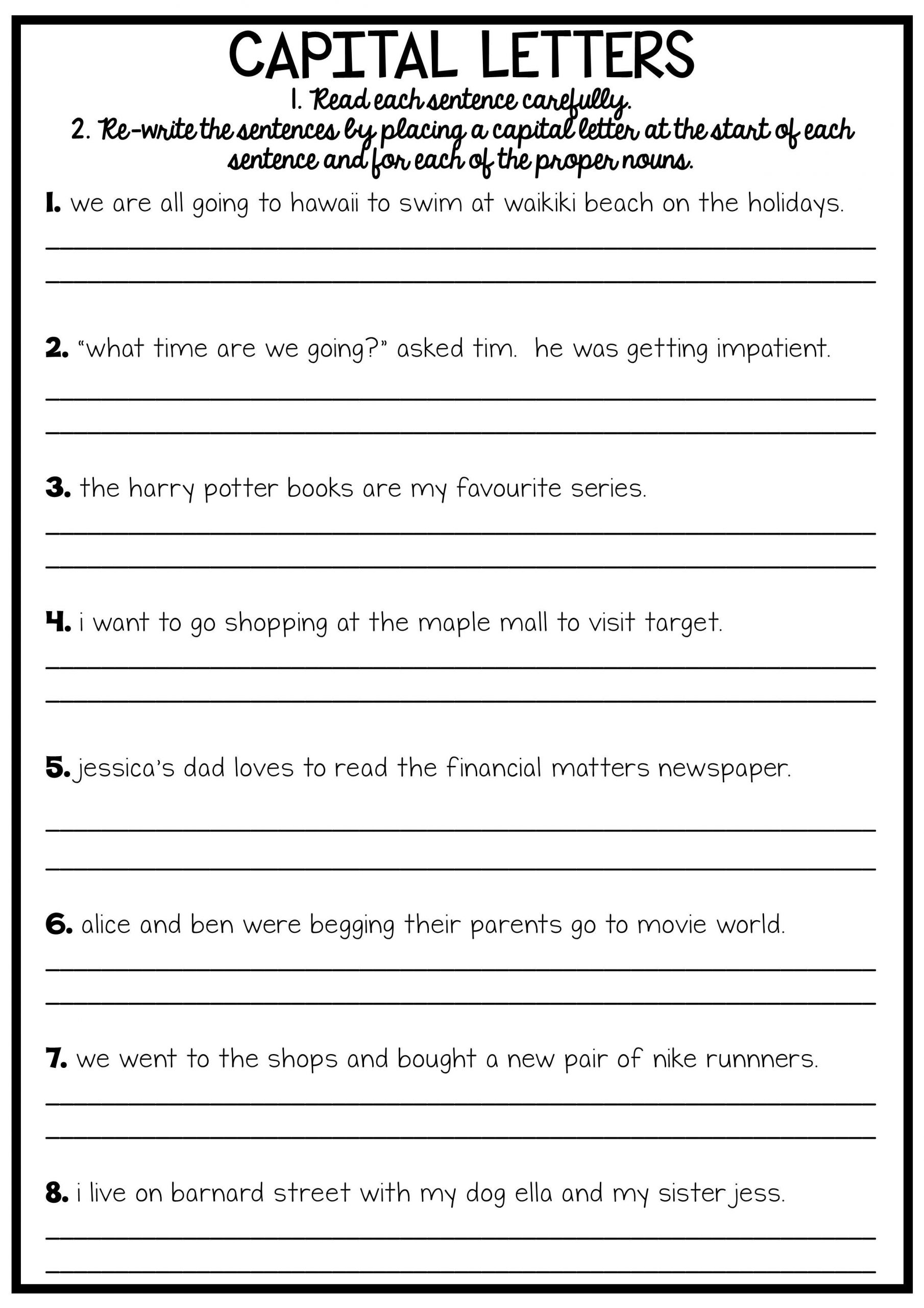 Proper Nouns Worksheet 2nd Grade 5th Grade English Worksheets Nouns