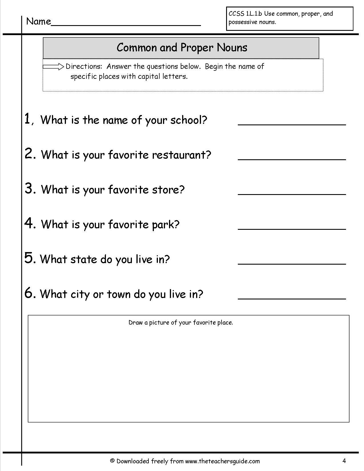 Proper Nouns Worksheet 2nd Grade Mon and Proper Nouns Worksheet
