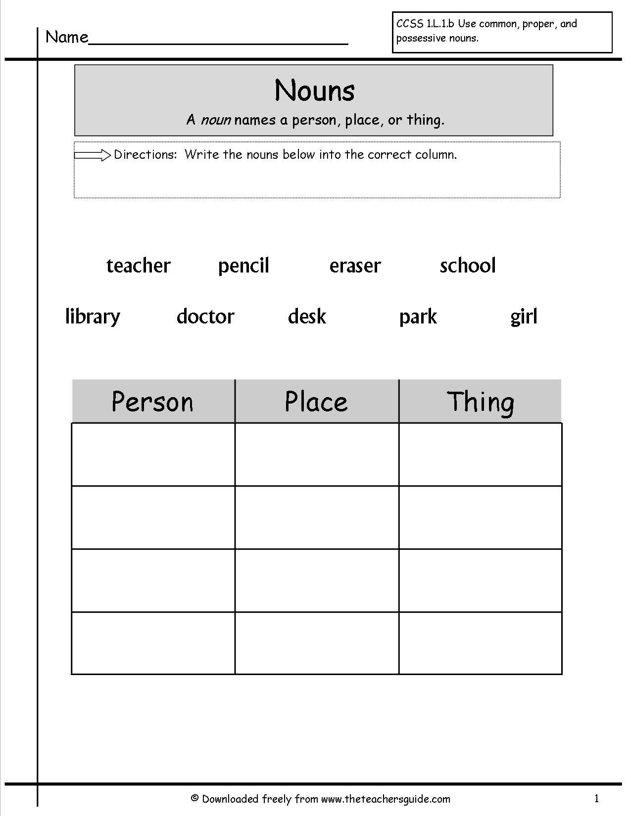 Proper Nouns Worksheet 2nd Grade Noun Worksheets for Grade 1