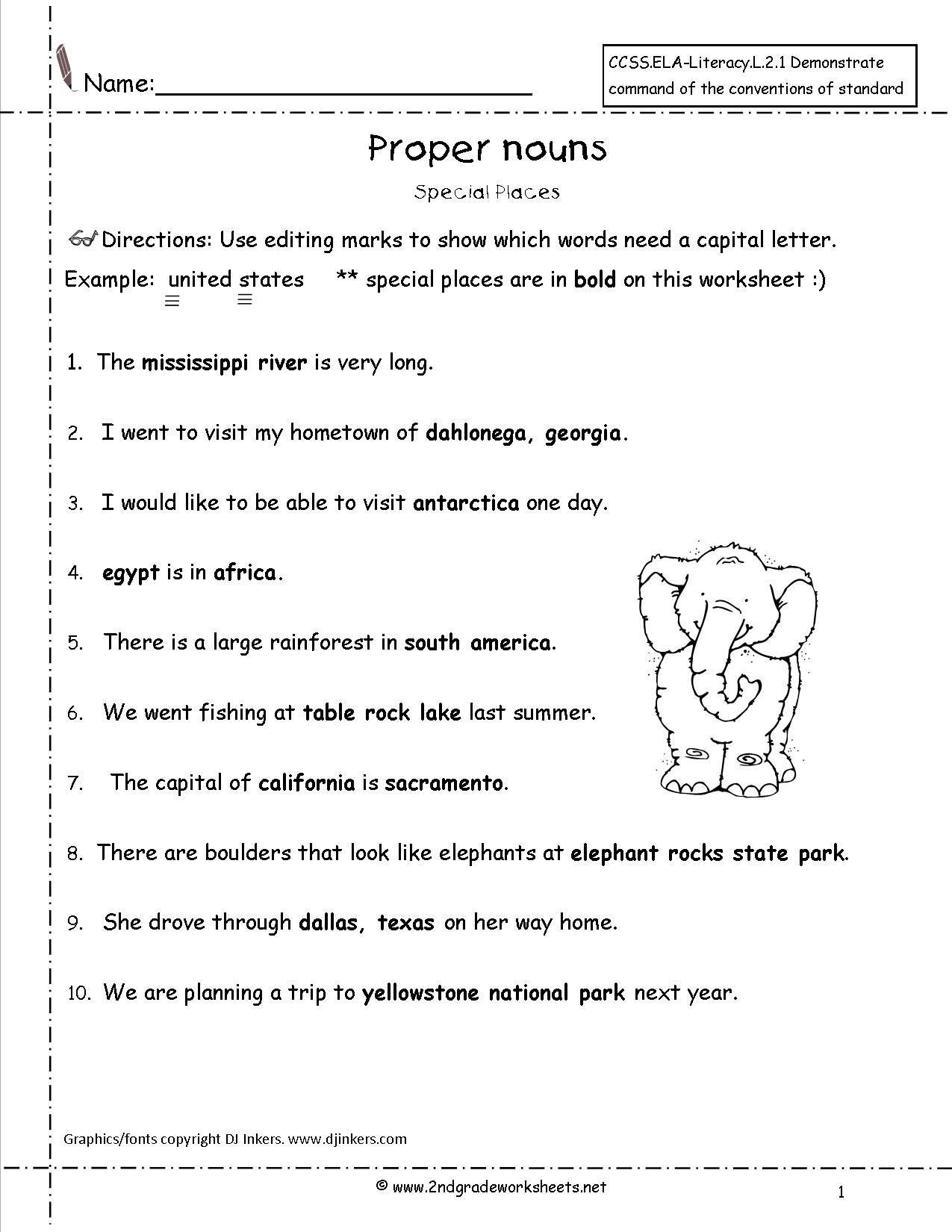 Proper Nouns Worksheet 2nd Grade Proper Nouns Worksheet