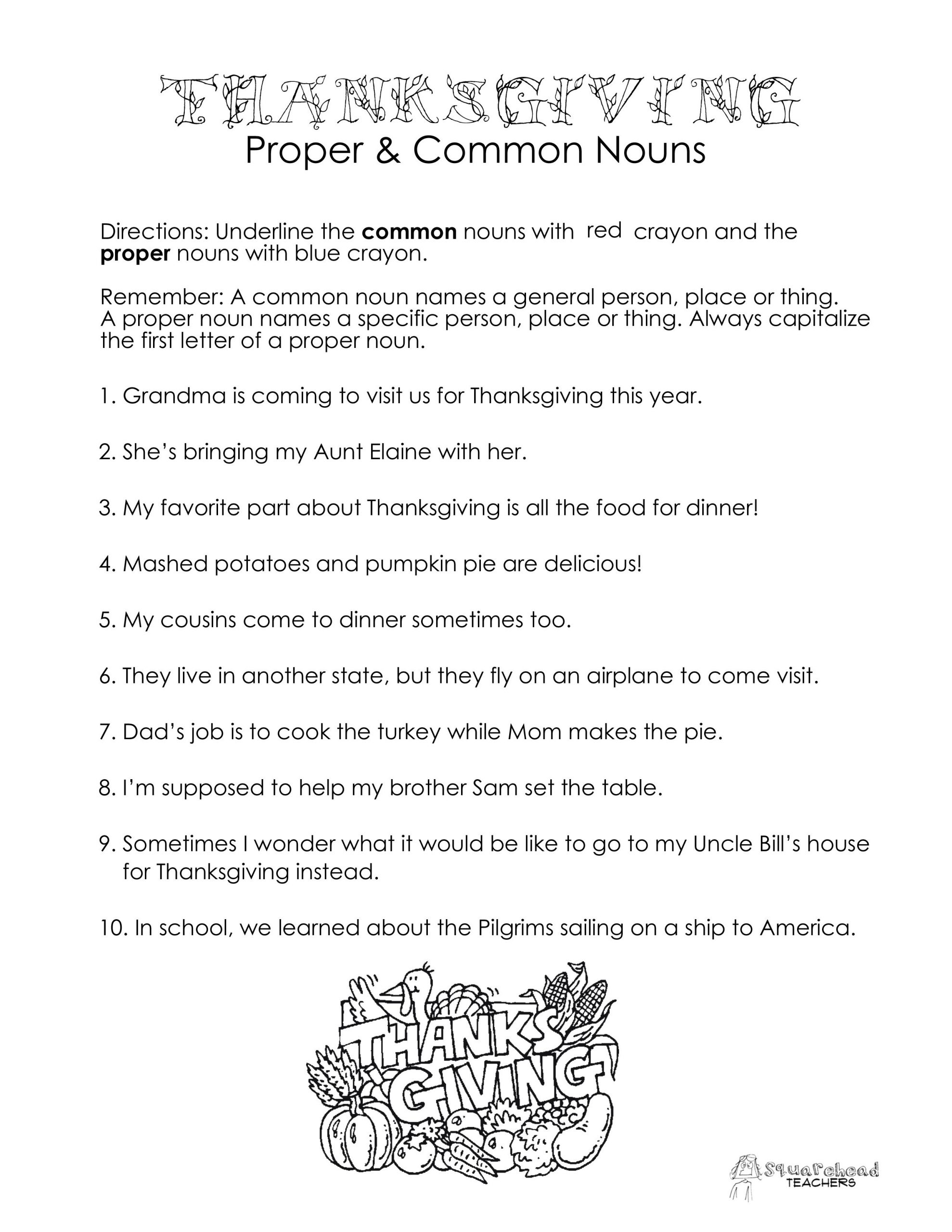 Proper Nouns Worksheet 2nd Grade Thanksgiving Mon Vs Proper Nouns Worksheet