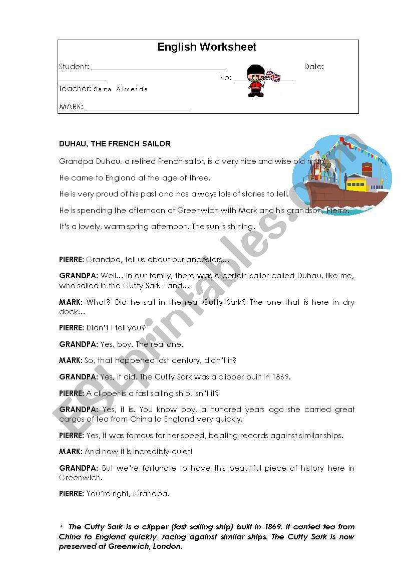 Reading Comprehension Worksheets 6th Grade Reading Prehension 6th Grade Esl Worksheet by Sara Almeida