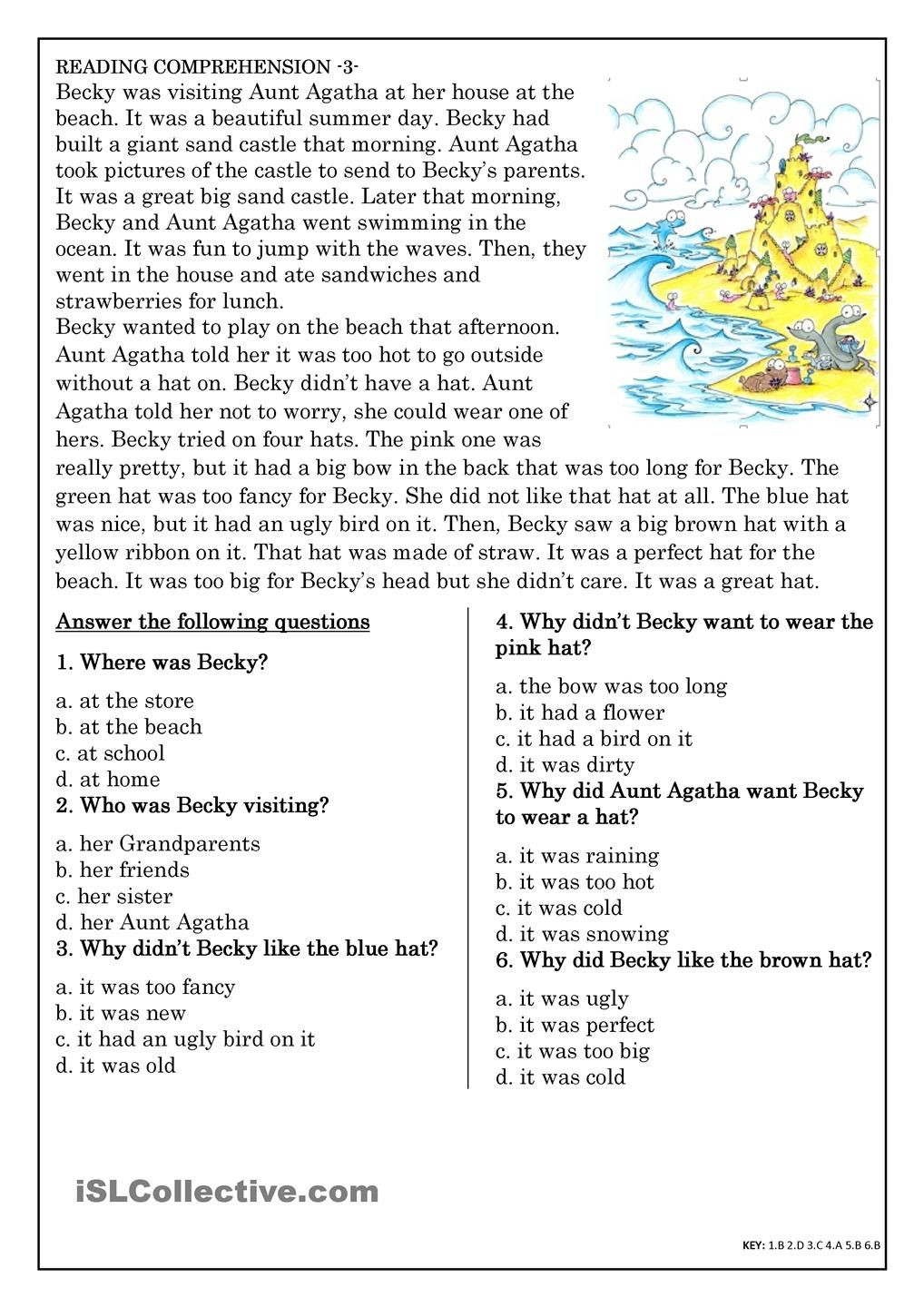 Reading Comprehension Worksheets 7th Grade Monthly Archives June 2020 English Reading Prehension