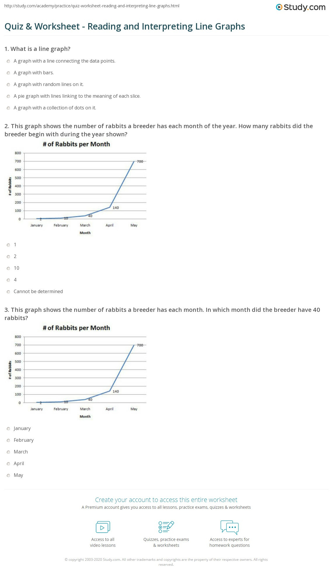 Reading Graphs Worksheets Middle School Quiz & Worksheet Reading and Interpreting Line Graphs