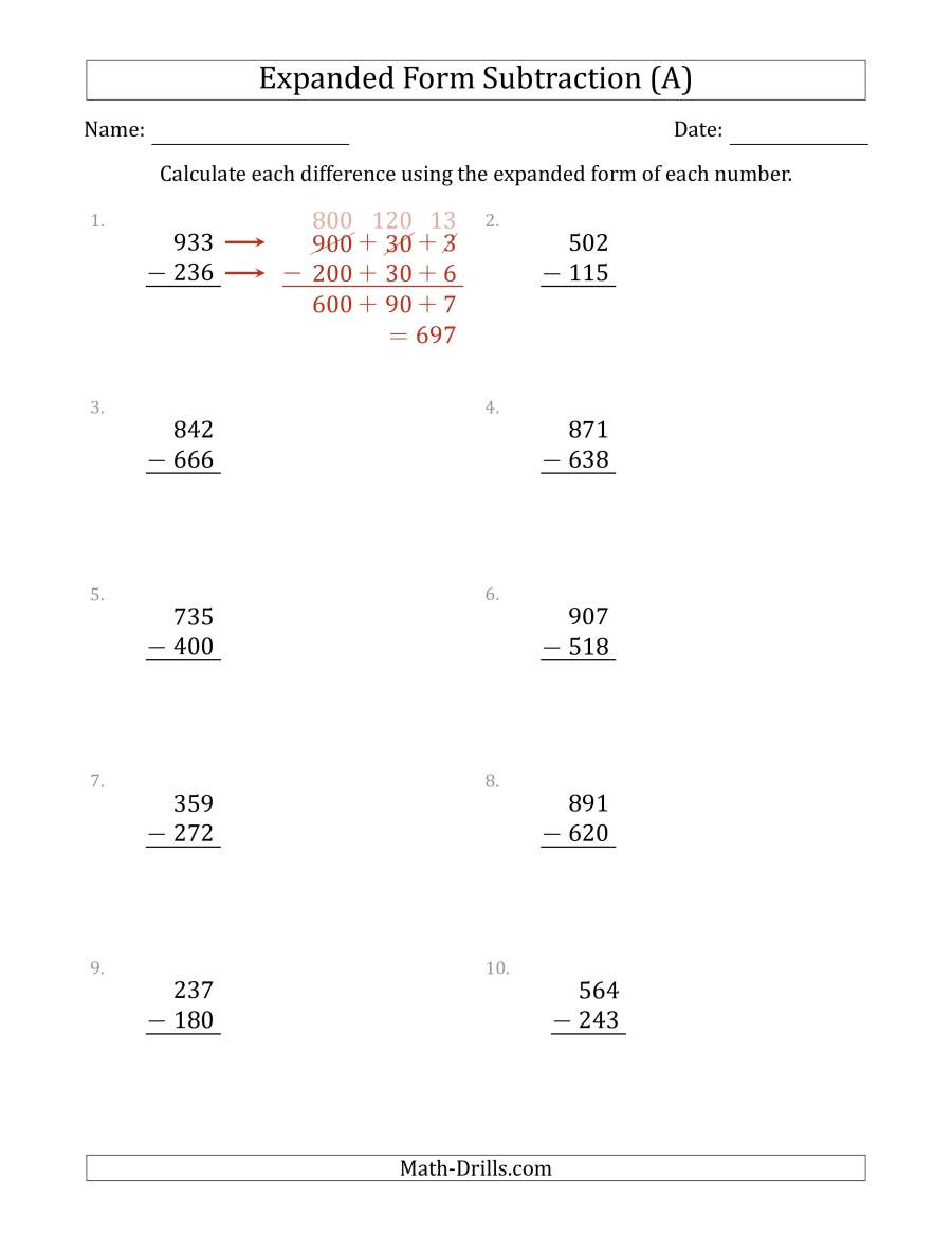 Regrouping Subtraction Worksheets 3rd Grade 3 Digit Expanded form Subtraction A