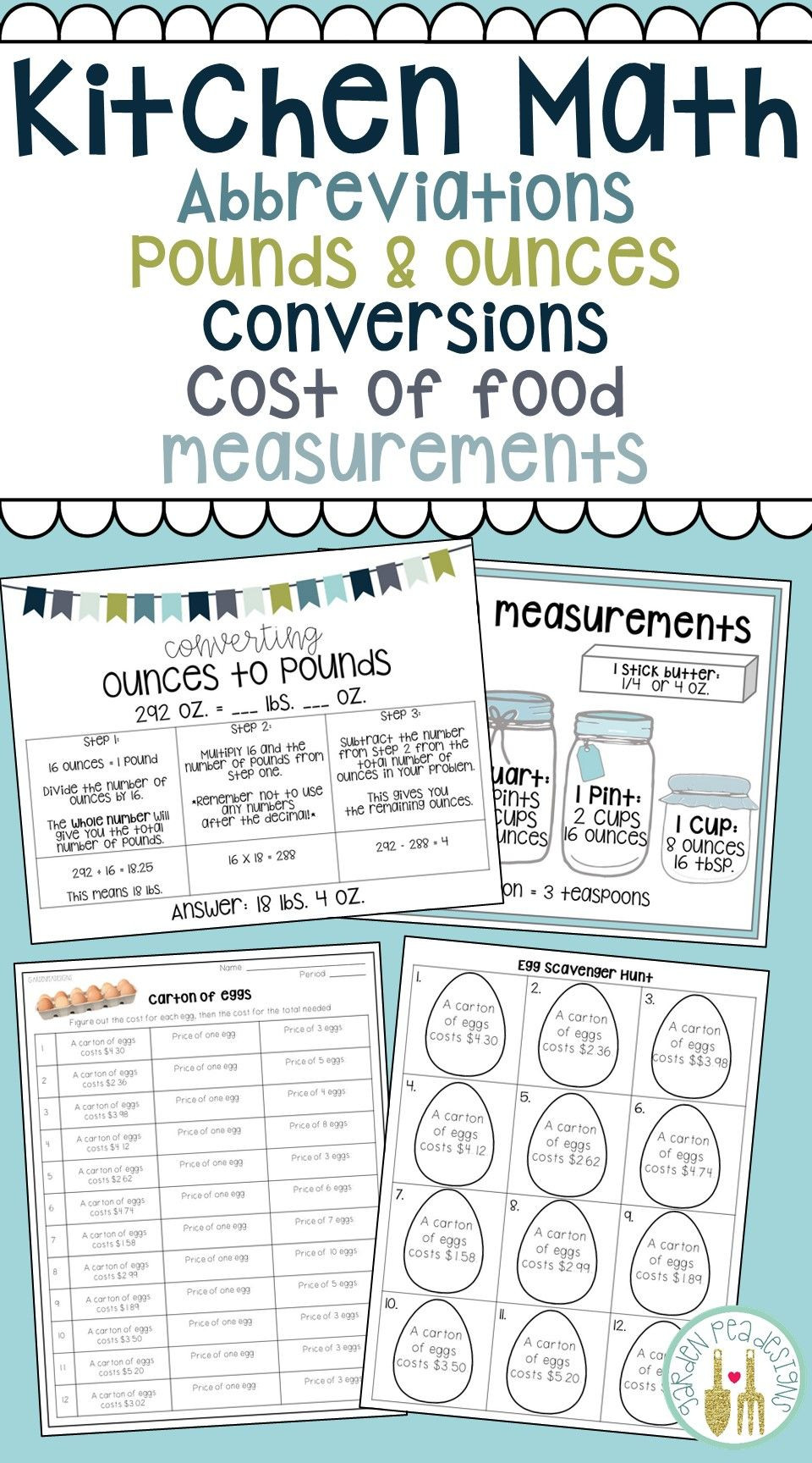 Restaurant Math Worksheets $5 00 Teach Kitchen Abbreviations How to Convert Pounds to