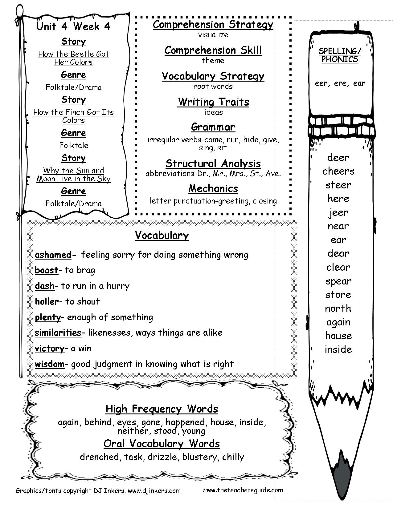 Root Word Worksheets 2nd Grade Wonders Second Grade Unit Four Week Four Printouts