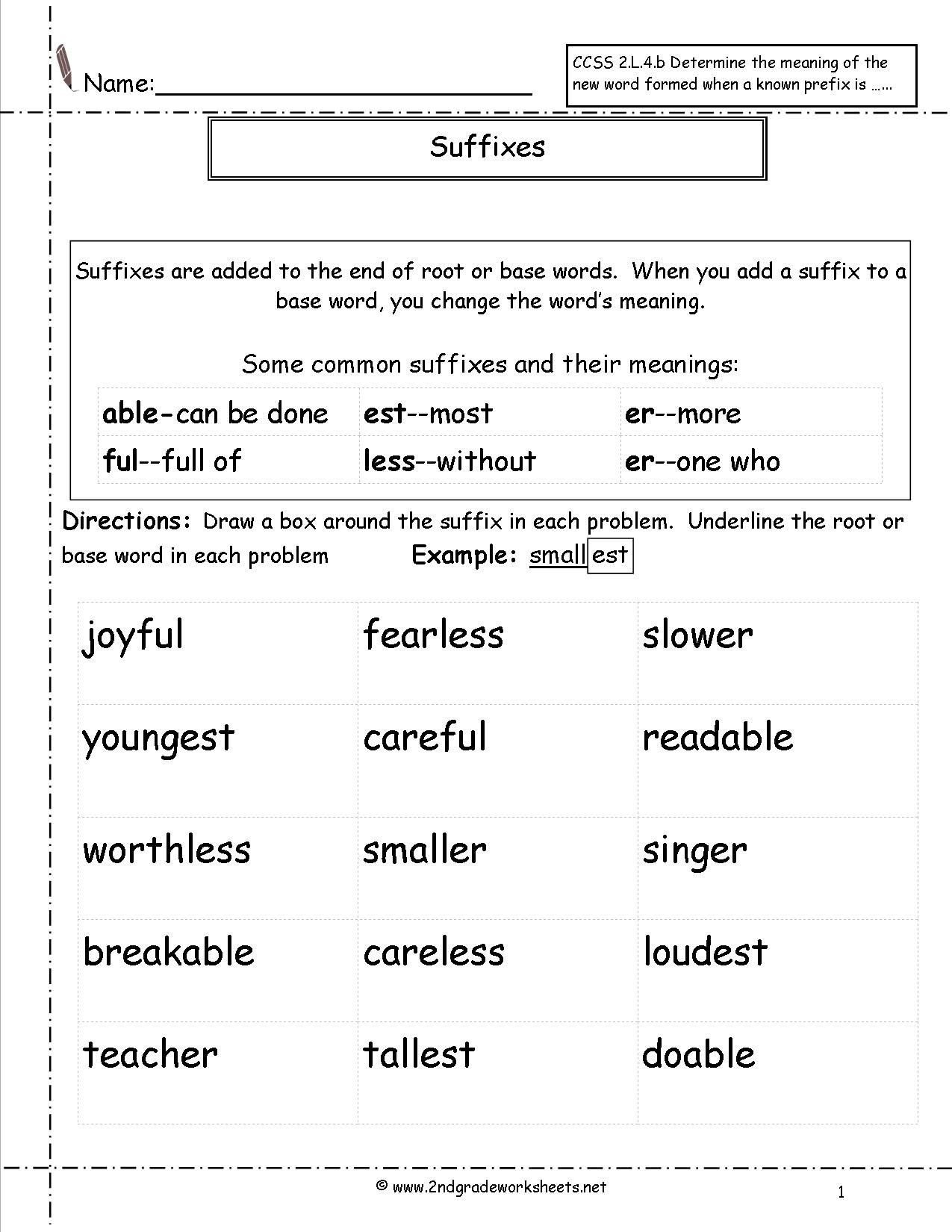 Root Word Worksheets 4th Grade Suffix Worksheets 2nd Grade