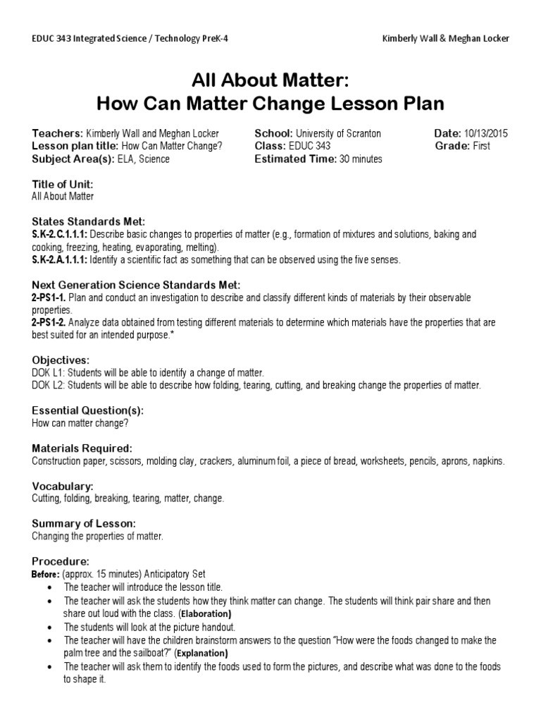 Science Fusion Grade 3 Worksheets Science Fusion First Grade Lesson Plan Kimberly Wall