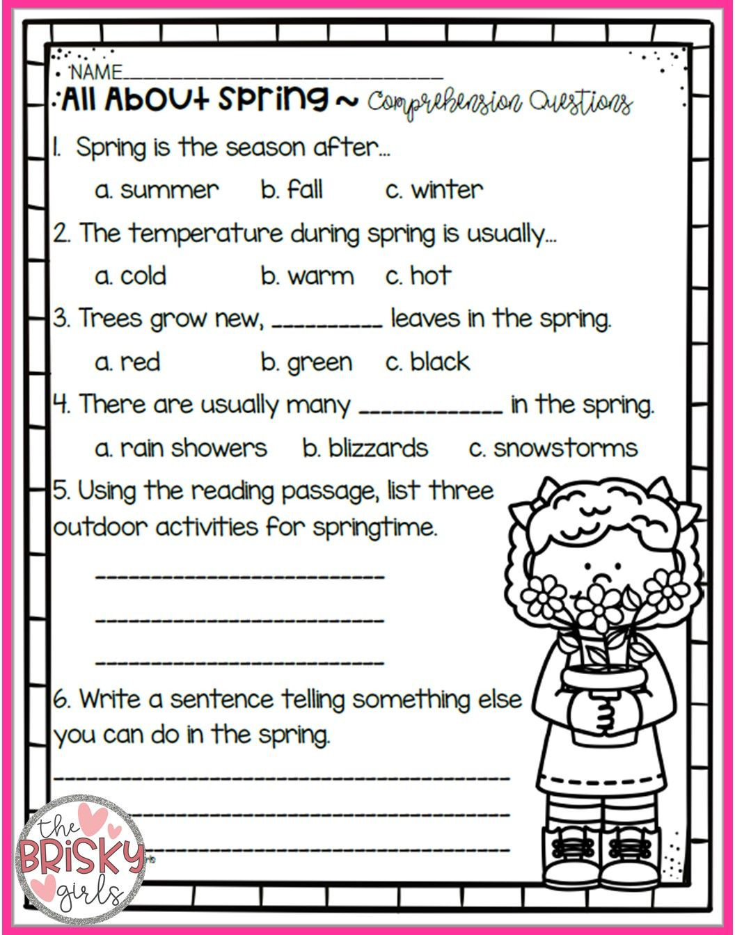 Seasons Worksheets for First Grade the Four Seasons Reading Passages Take Home Packet