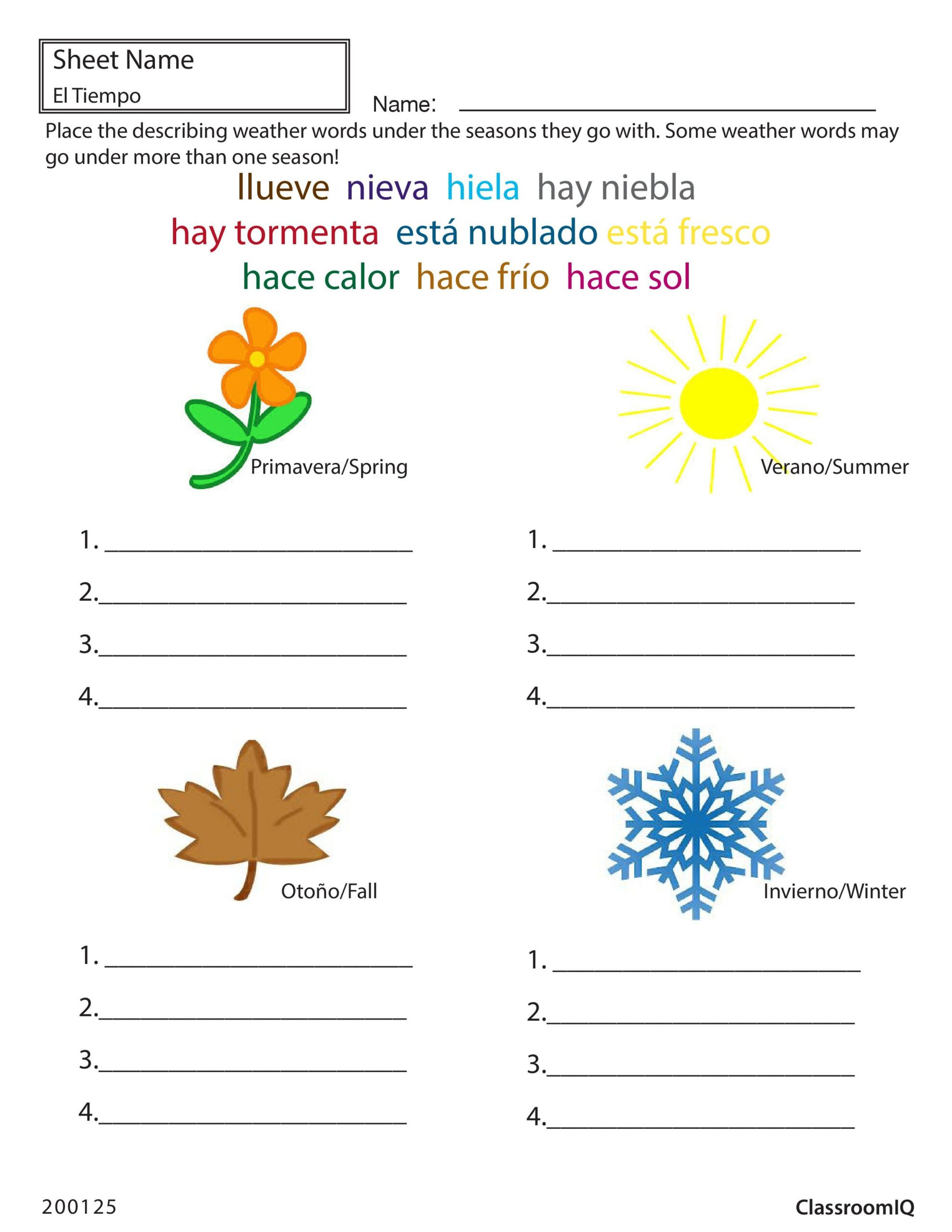 Seasons Worksheets for First Grade Weather and Seasons In Spanish Worksheets Mathematics Grade