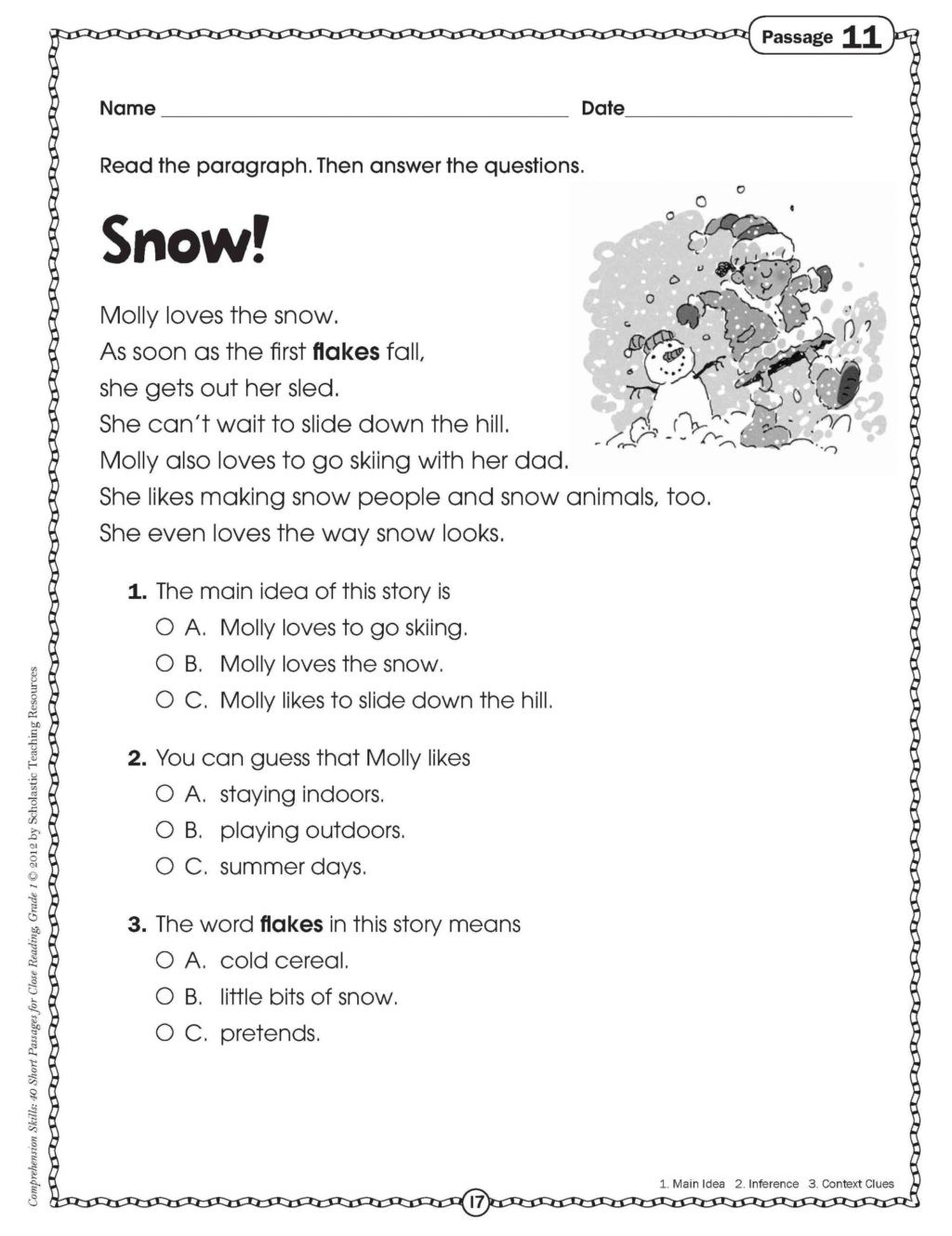 Seasons Worksheets for First Grade Worksheet Printable Short Stories for 1st Graders Get