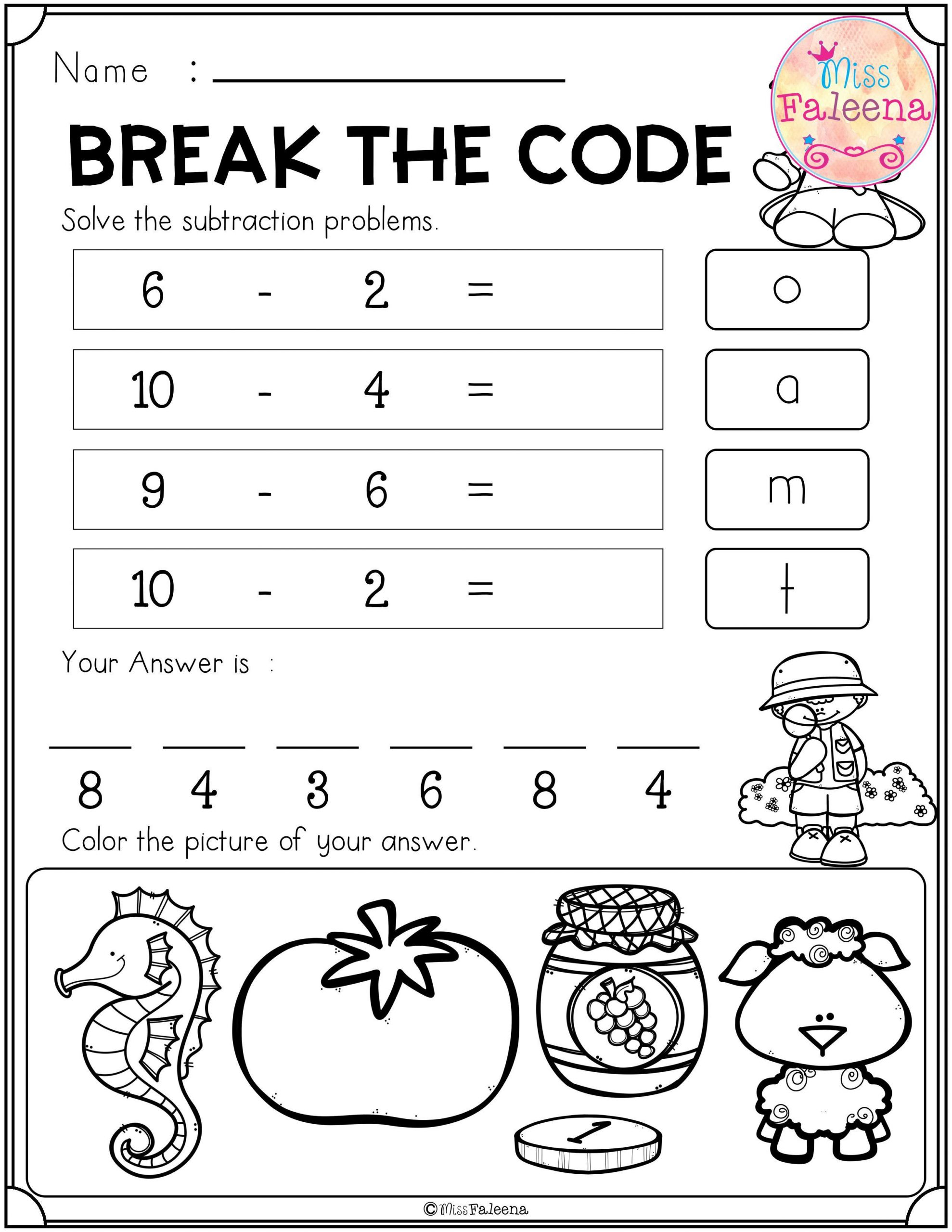 Secret Code Math Worksheets Explode the Code Worksheets Grade 1