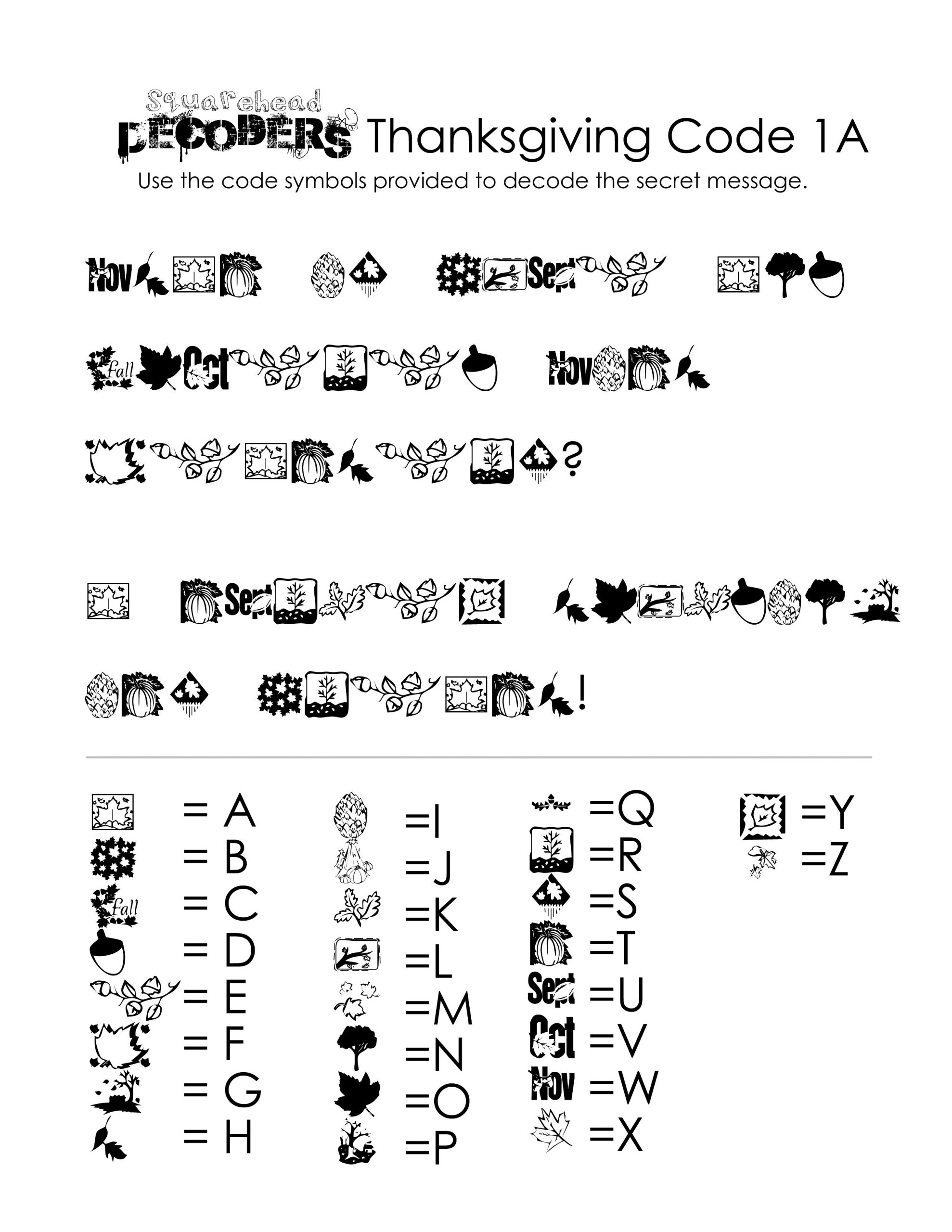 Secret Code Math Worksheets Thanksgiving Decoding Worksheets Free