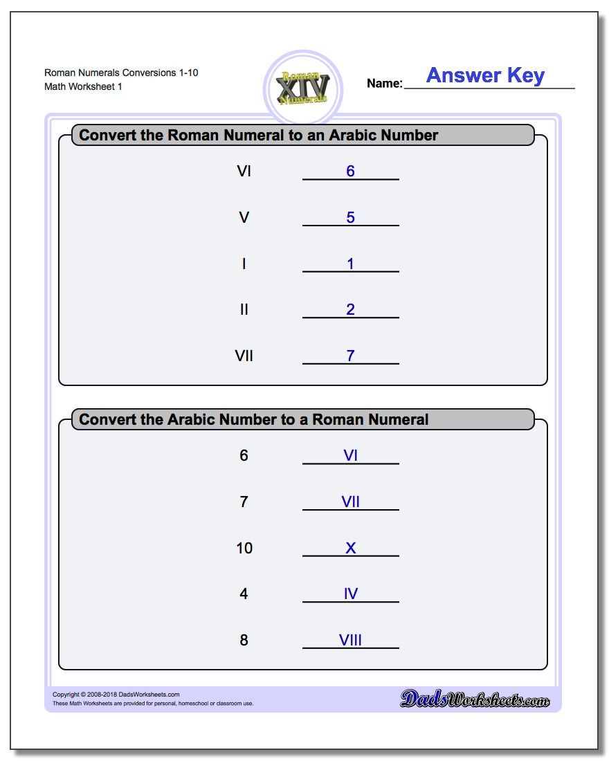Sequence Worksheets 3rd Grade Roman Numerals