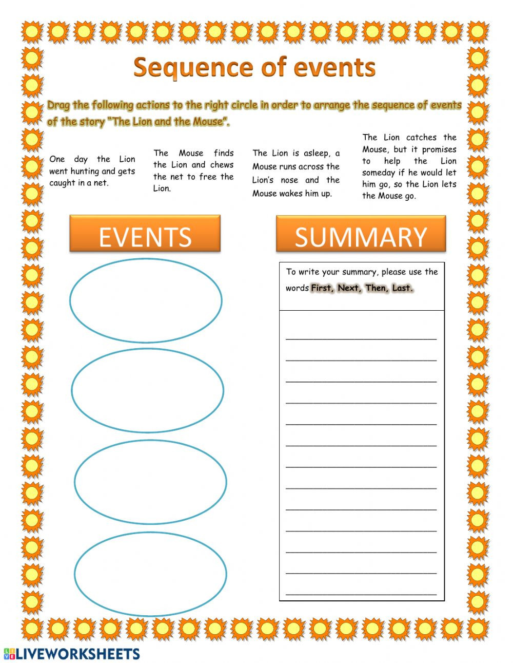 Sequence Worksheets 4th Grade Sequence Of events and Summary Interactive Worksheet