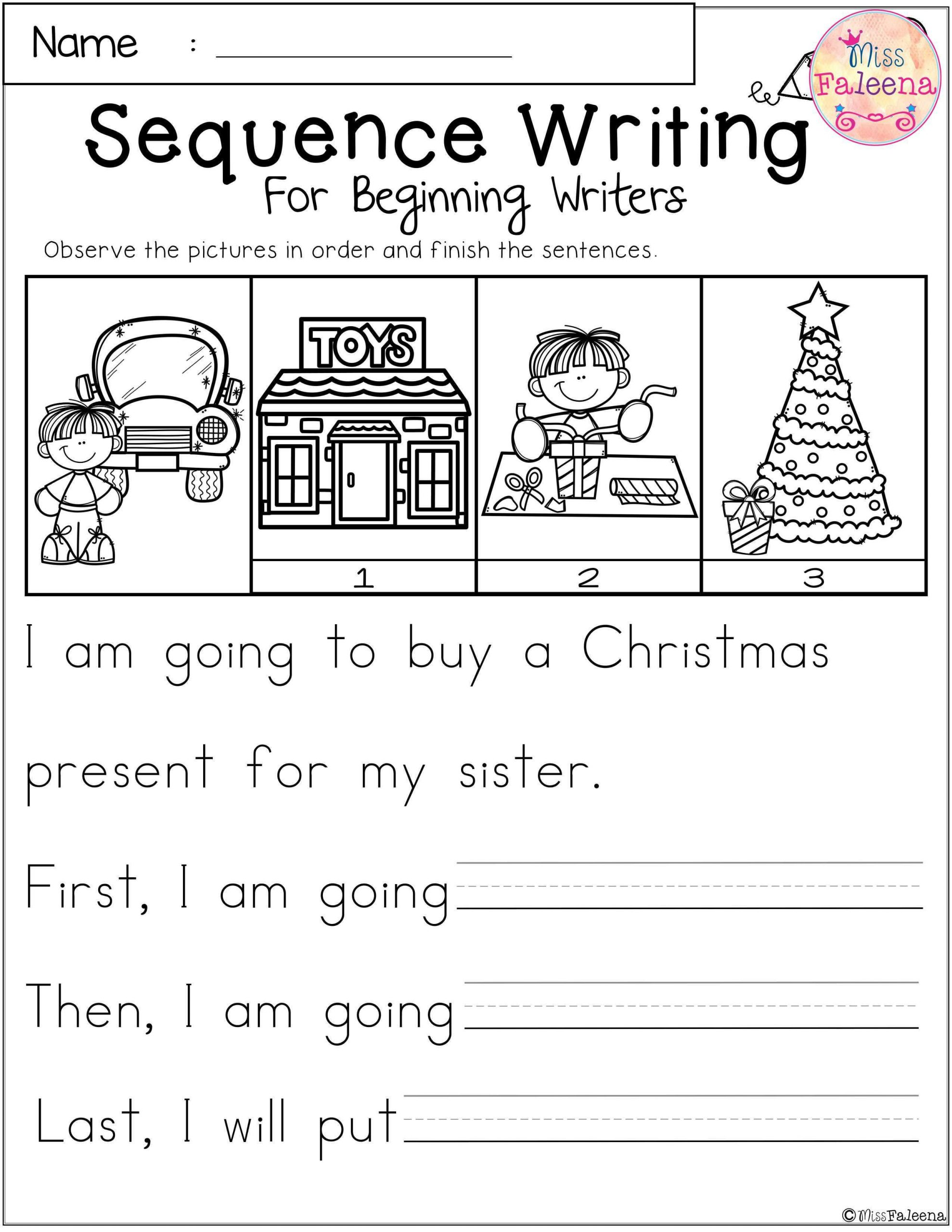 Sequence Worksheets for 1st Grade December Sequence Writing for Beginning Writers