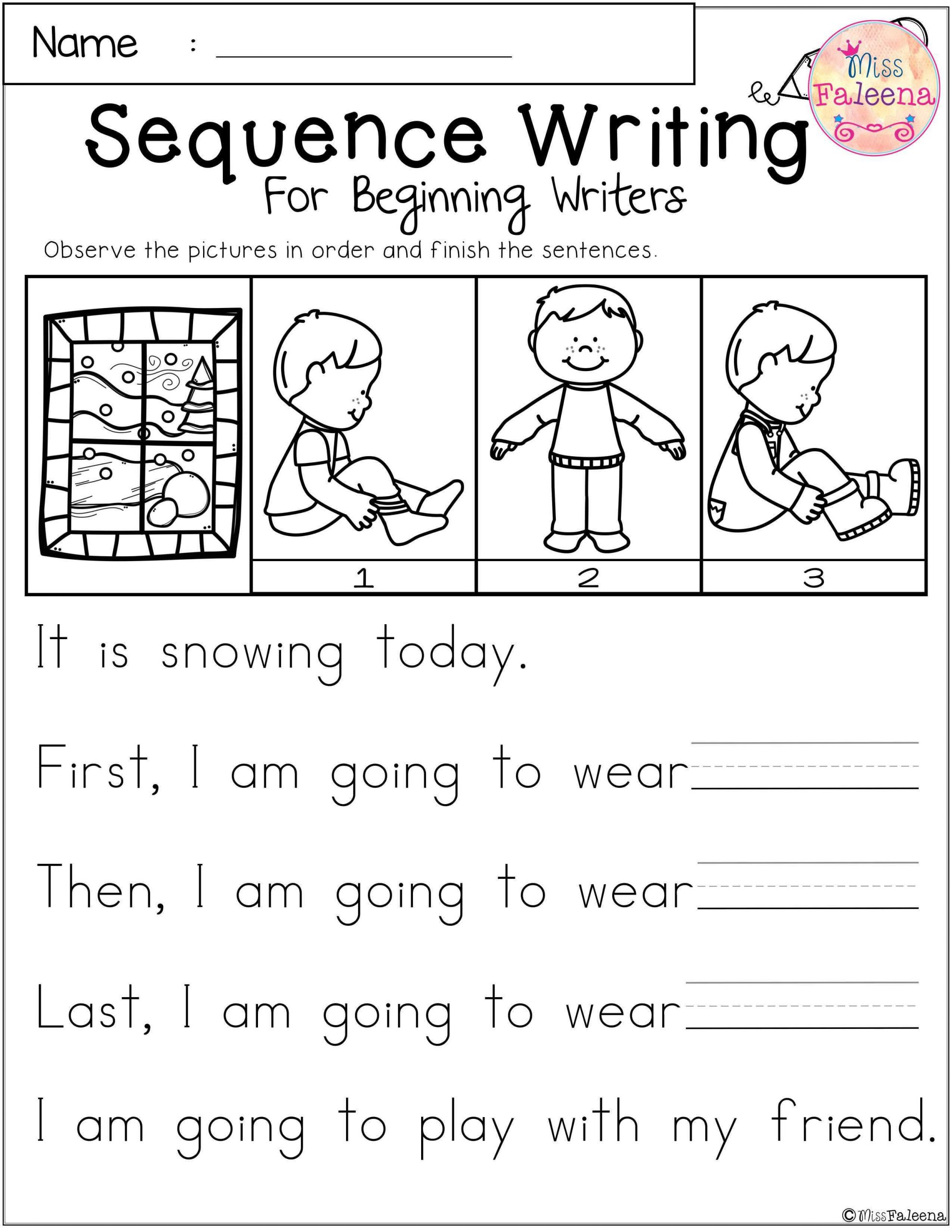 Sequence Worksheets for 1st Grade January Sequence Writing for Beginning Writers
