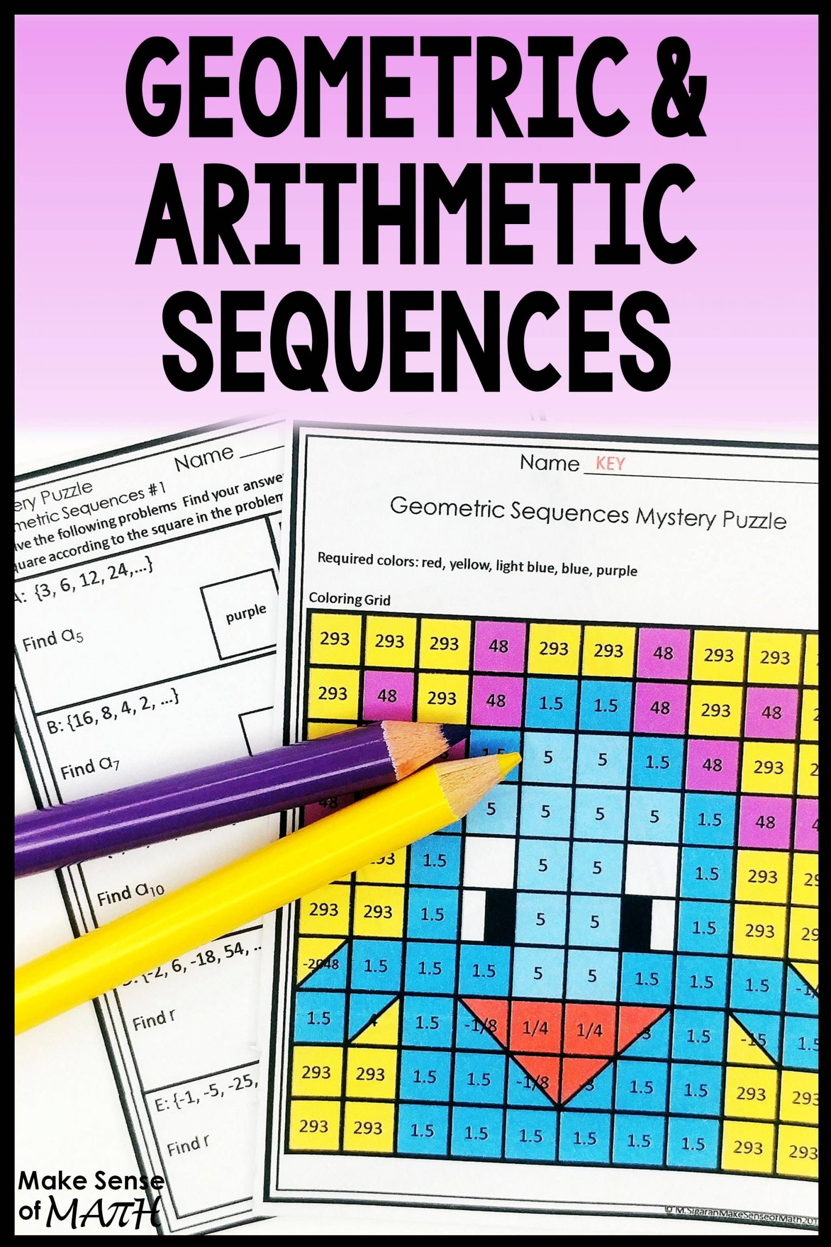 Sequencing Worksheets for Middle School Geometric Sequences Activity and Arithmetic Sequences
