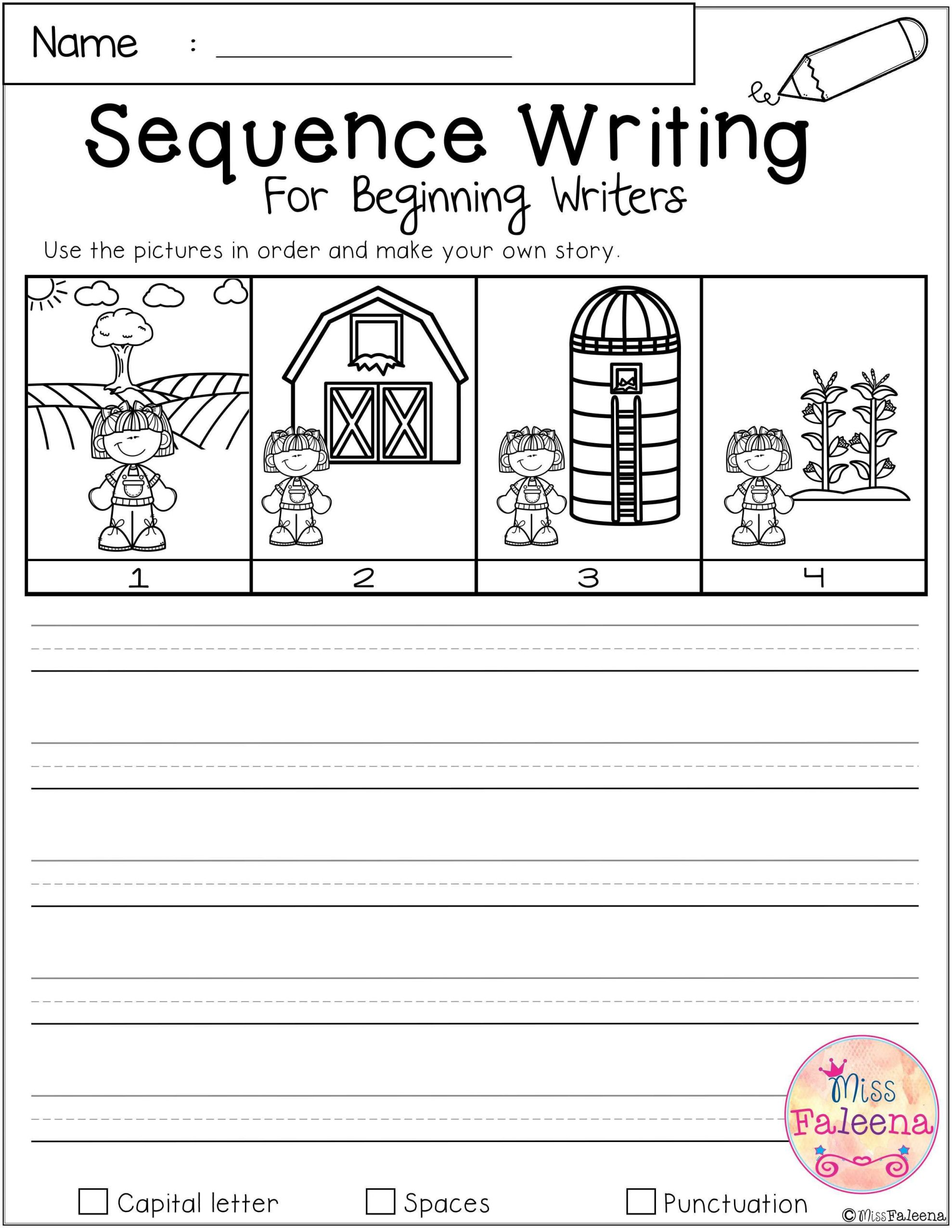 Sequencing Worksheets Middle School Free Sequence Writing for Beginning Writers