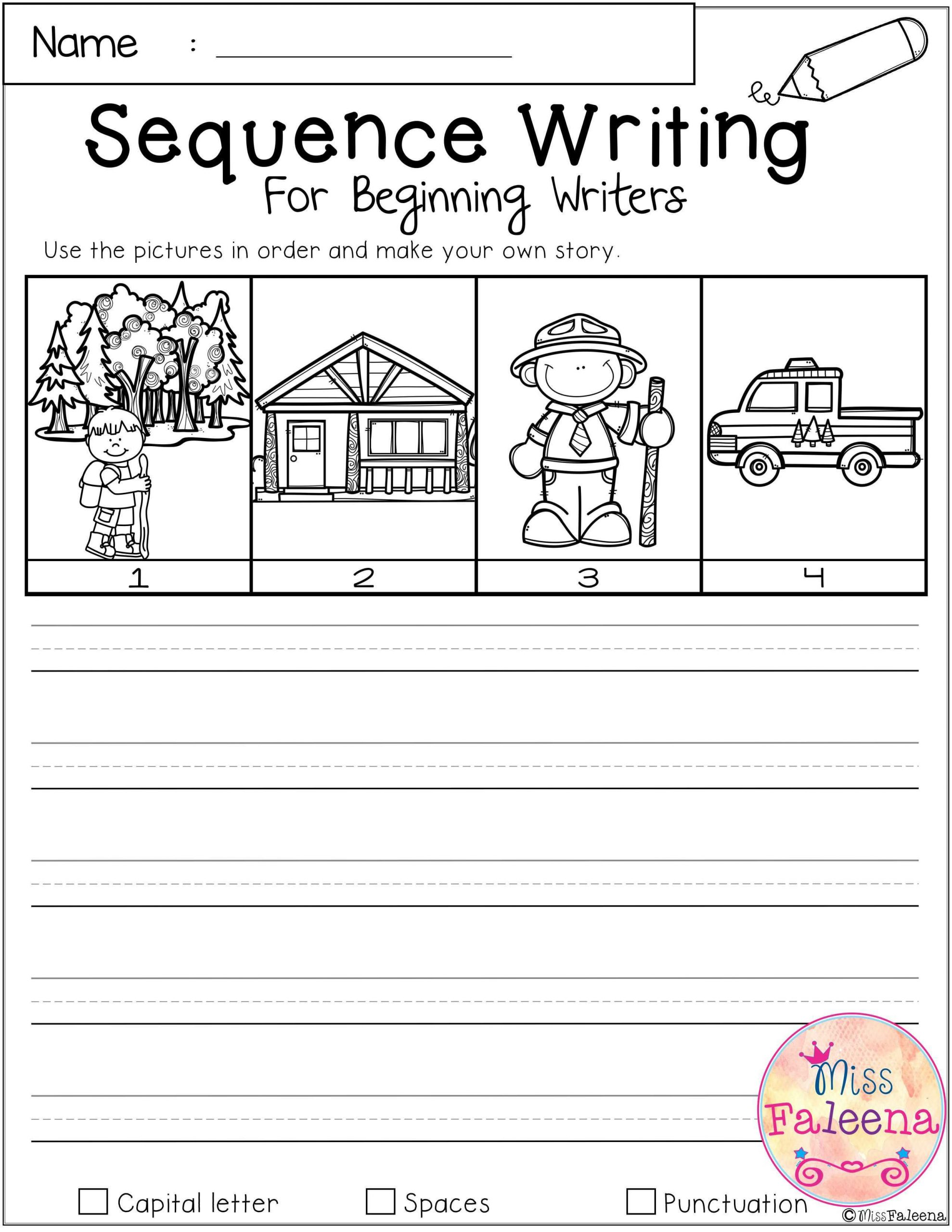 Sequencing Worksheets Middle School September Sequence Writing for Beginning Writers