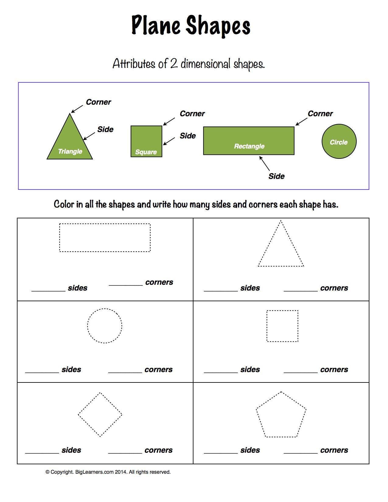 Shapes Worksheets 2nd Grade Worksheet Plane Shapes