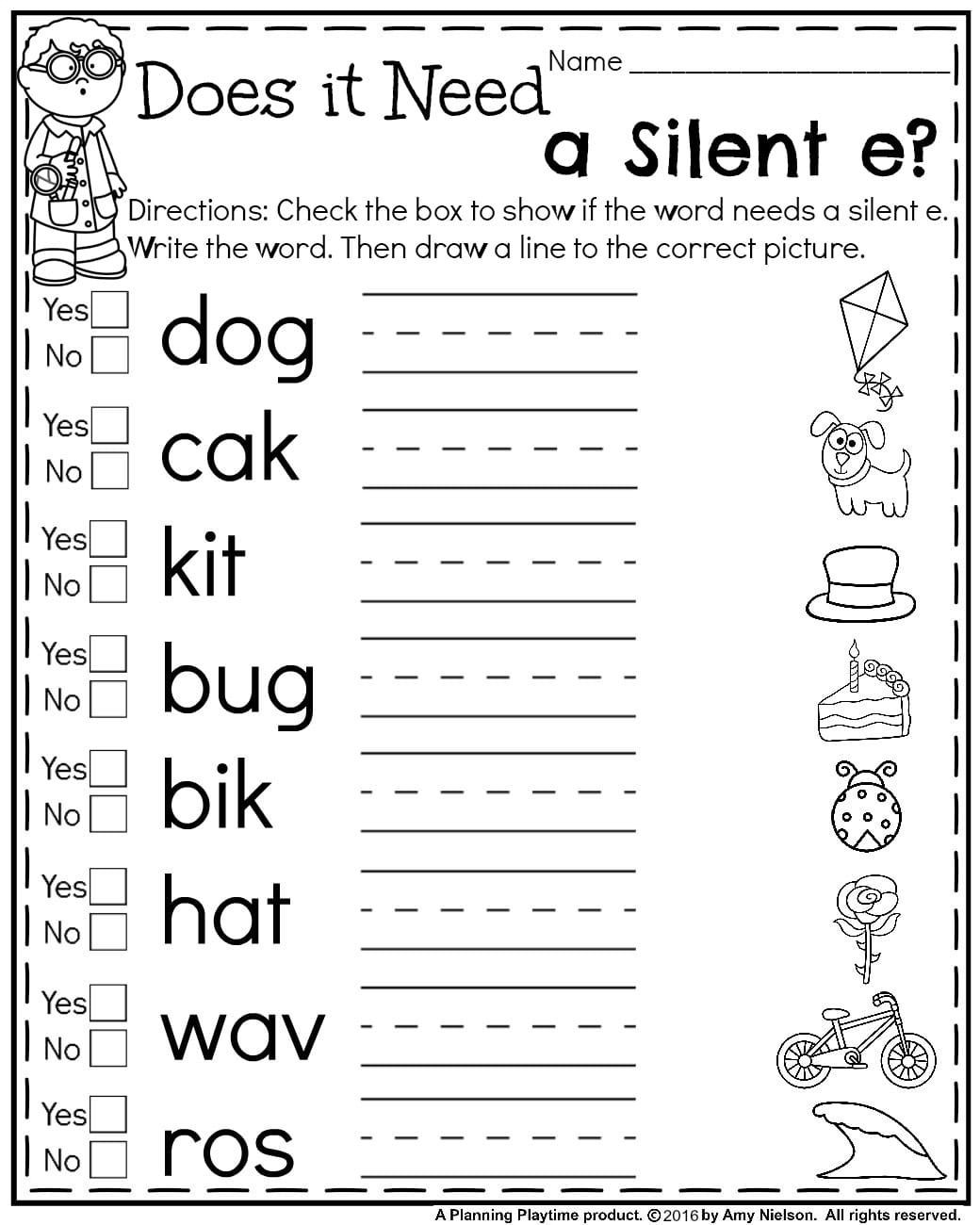 Silent E Worksheets Grade 2 First Grade Summer Worksheets
