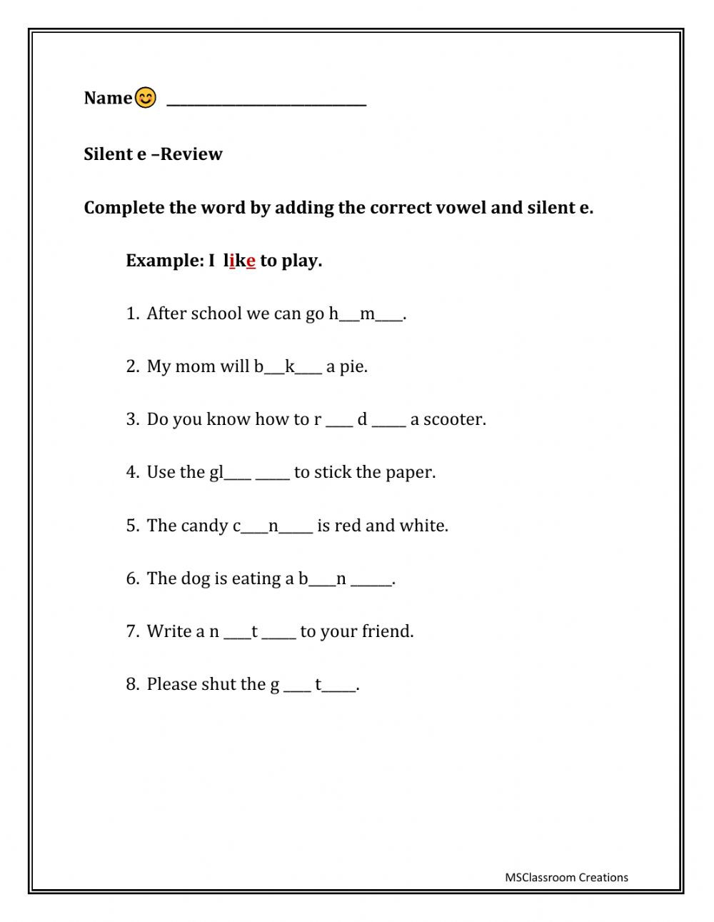 Silent E Worksheets Grade 2 Silent E Interactive Worksheet