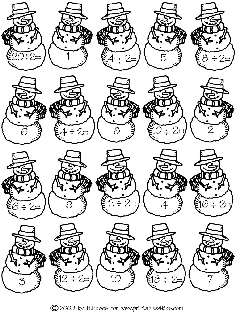 Snowman Math Worksheets Math Facts Division Twos Snowman Printables for Kids