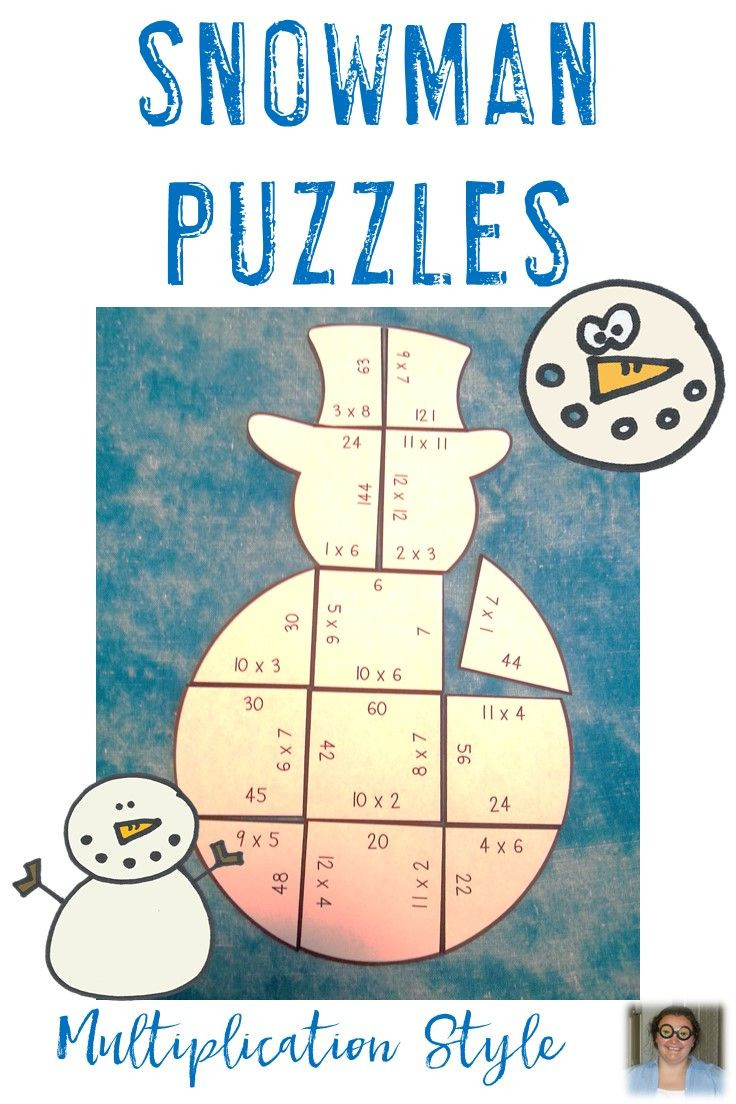 Snowman Math Worksheets Multiplication Snowman Math Activities or Games