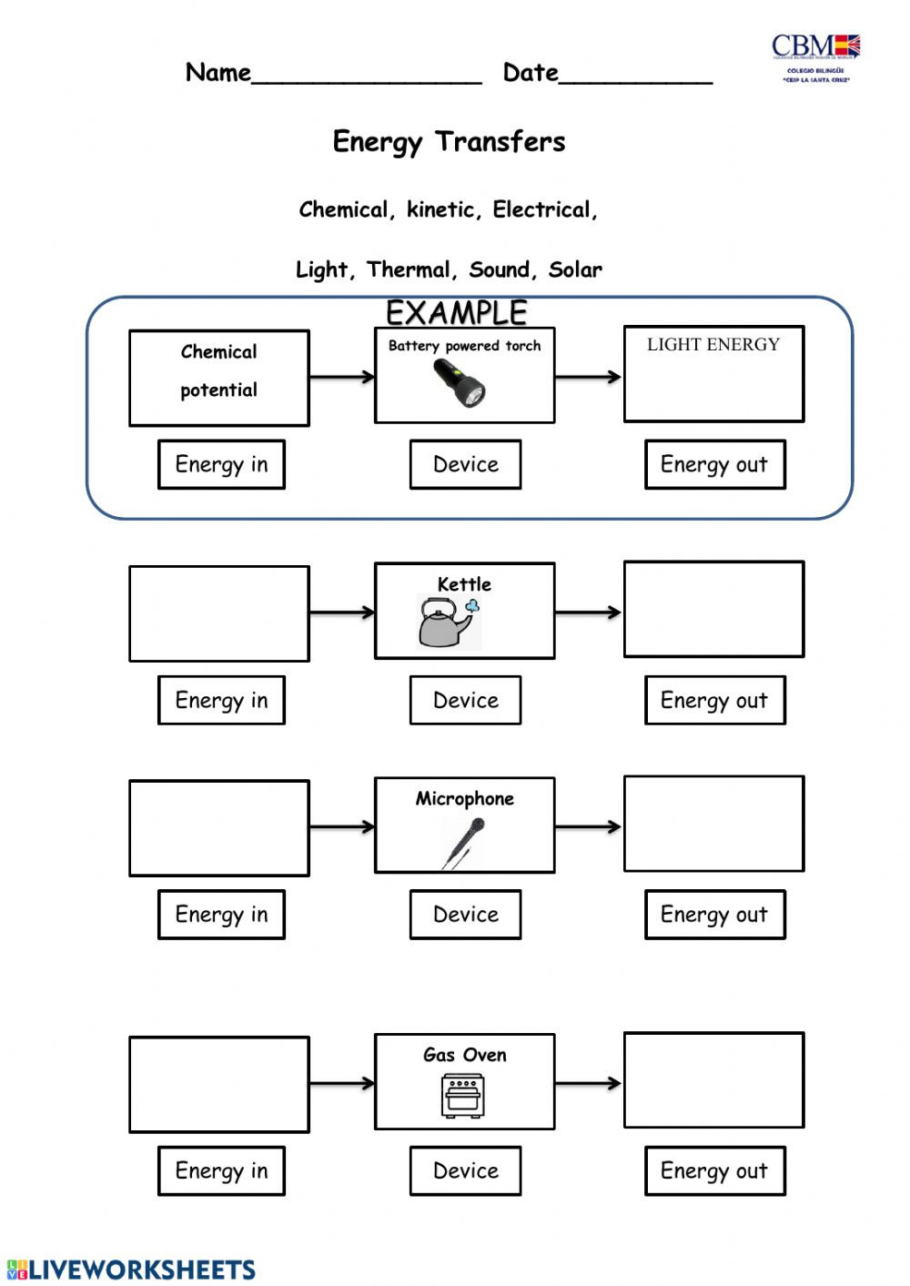 Sound Energy Worksheets 4th Grade Energy Transformation Interactive Worksheet