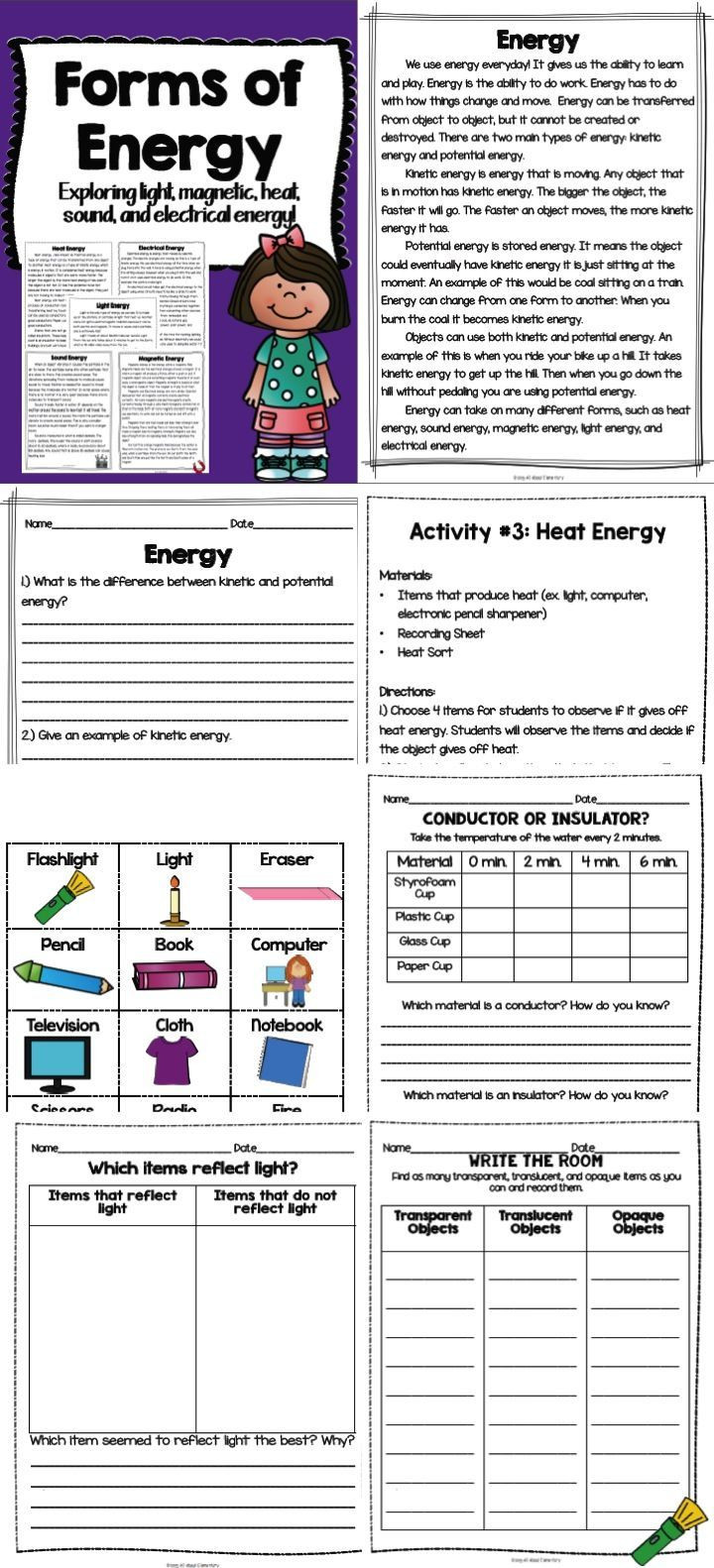 Sound Energy Worksheets 4th Grade forms Of Energy Light Magnetic Electrical Heat and