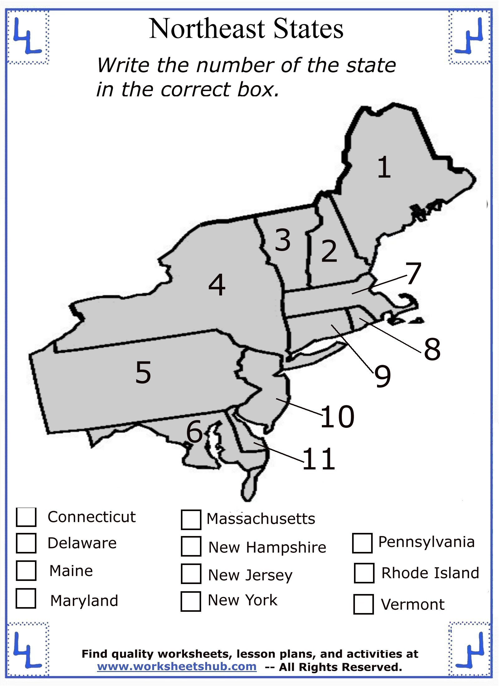 State and Capital Quiz Printable Fourth Grade social Stu S northeast Region States and