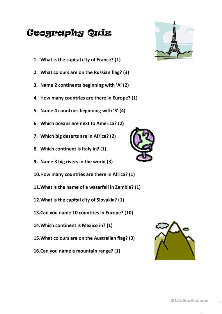 State and Capital Quiz Printable Geography Quiz English Esl Worksheets for Distance