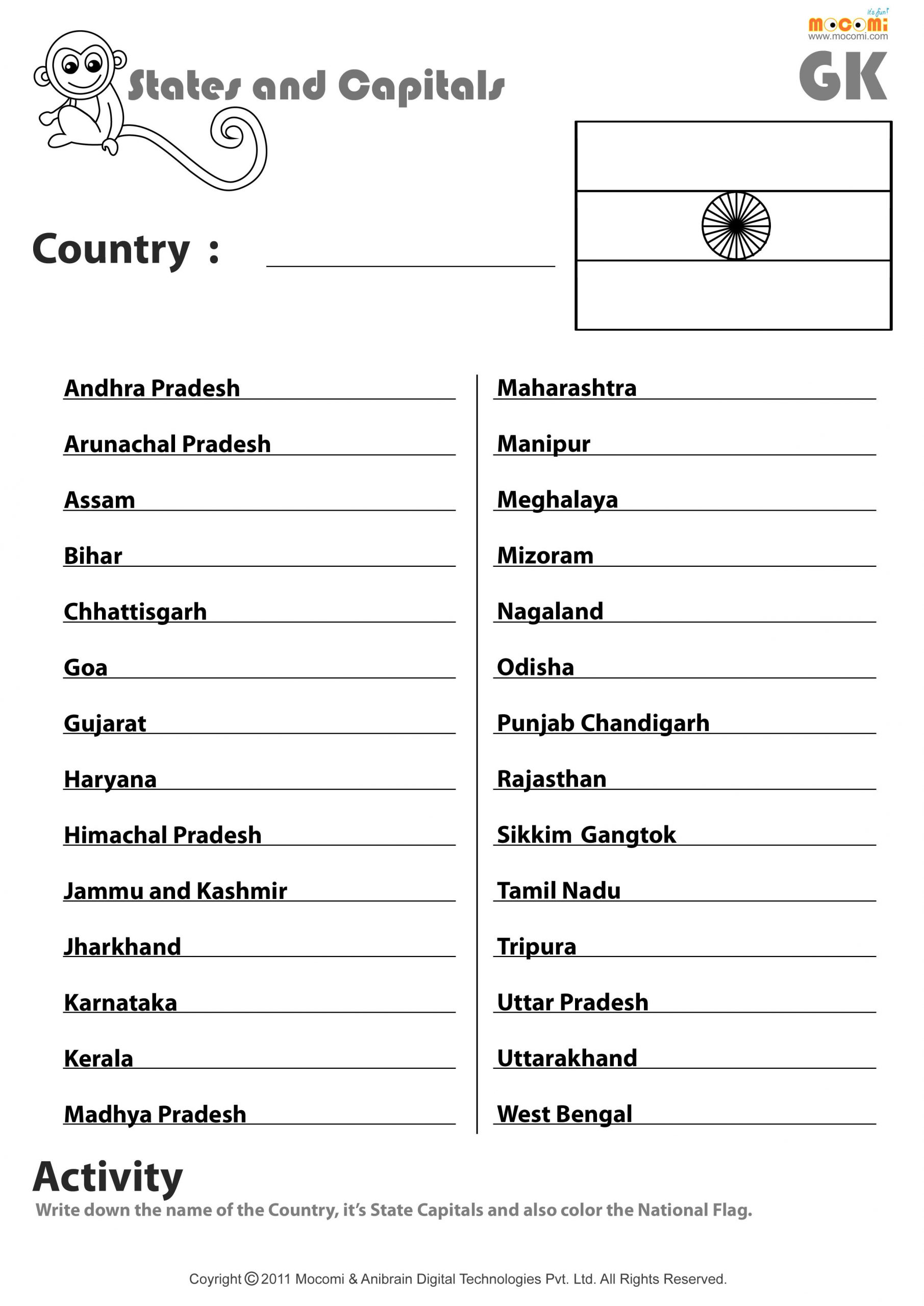 States and Capitals Quiz Printable Indian States and their Capitals English Worksheets for