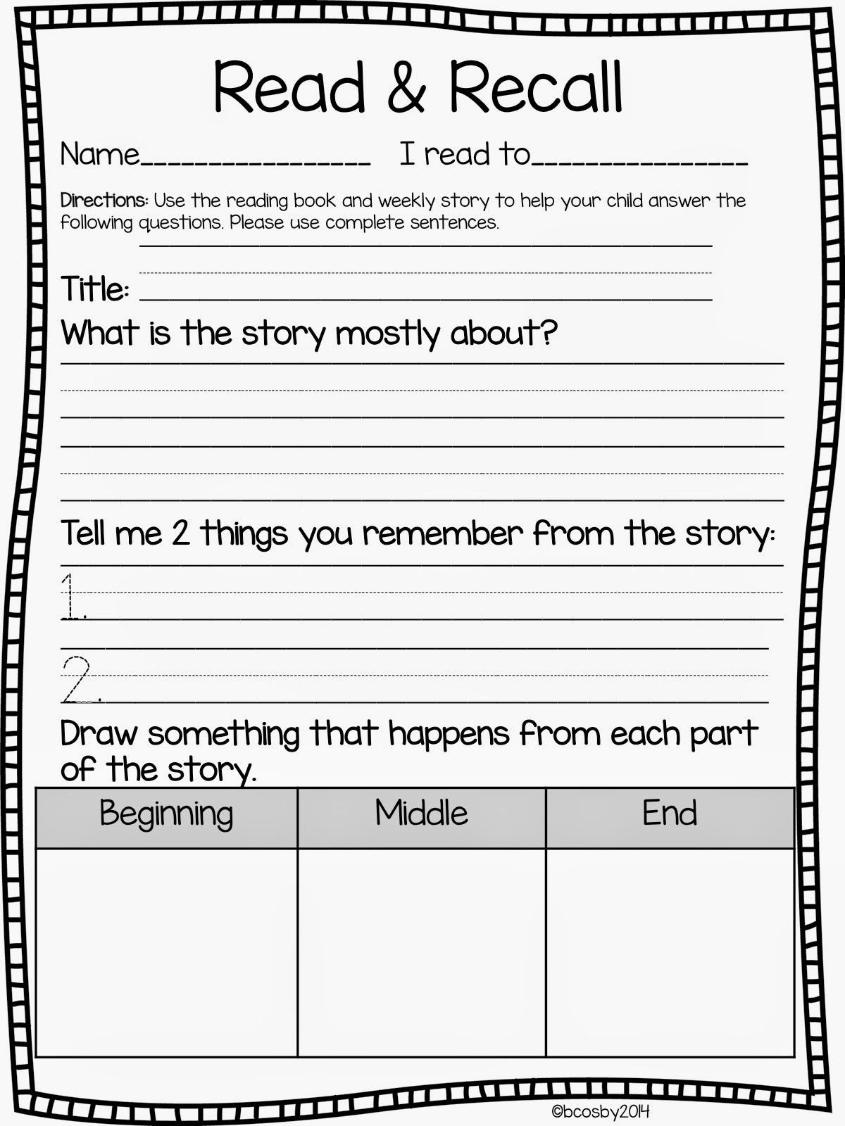 Story Elements Worksheet 2nd Grade Read and Recall Freebie Update