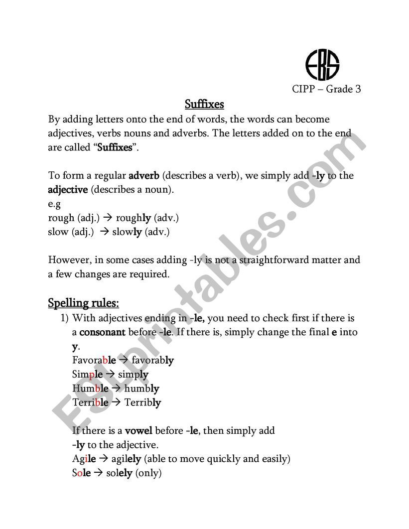 Suffix Worksheets 3rd Grade Suffix Ly Esl Worksheet by Nohaahmed