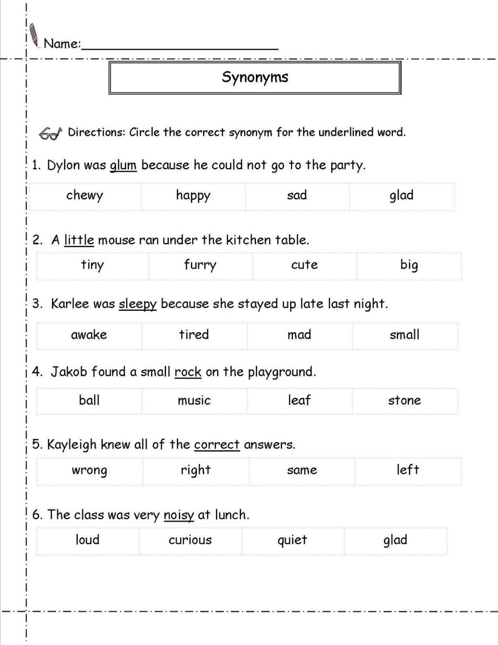 Synonyms Worksheet First Grade Worksheet Second Grades Synonym Learning Printable