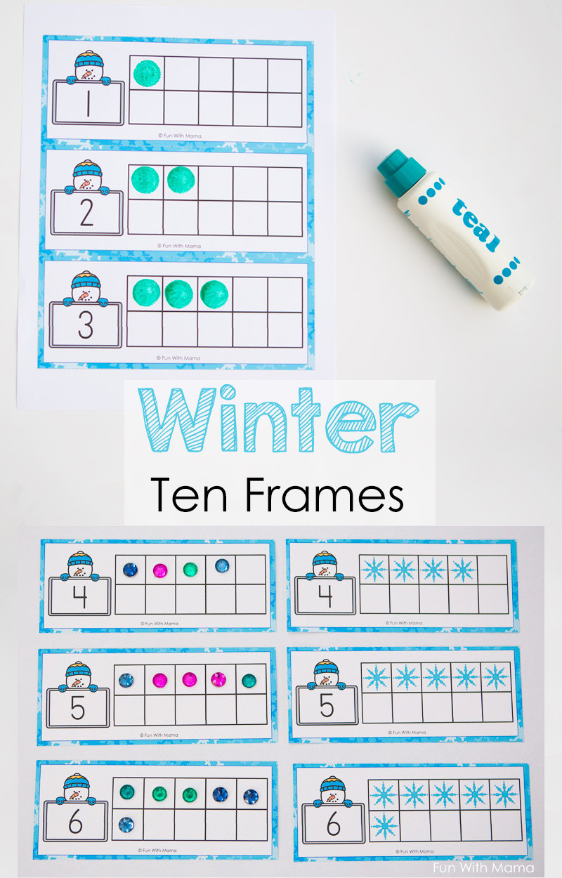 Ten Frame Worksheets First Grade Snowman Winter Ten Frame Printable Fun with Mama