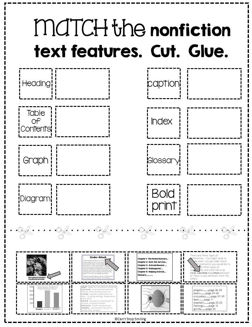 Text Structure 3rd Grade Worksheets Free Nonfiction Text Features Matching Activity Caption