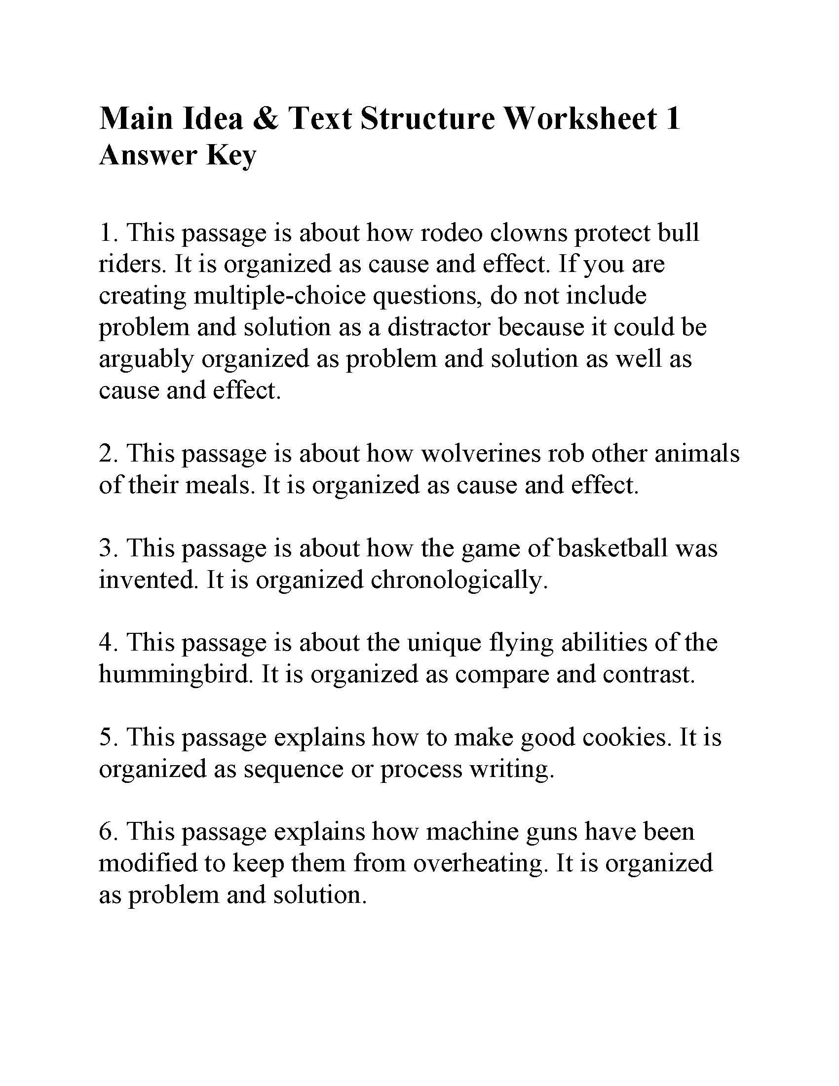 Text Structure Worksheets 3rd Grade This is the Answer Key for the Main Idea and Text Structure