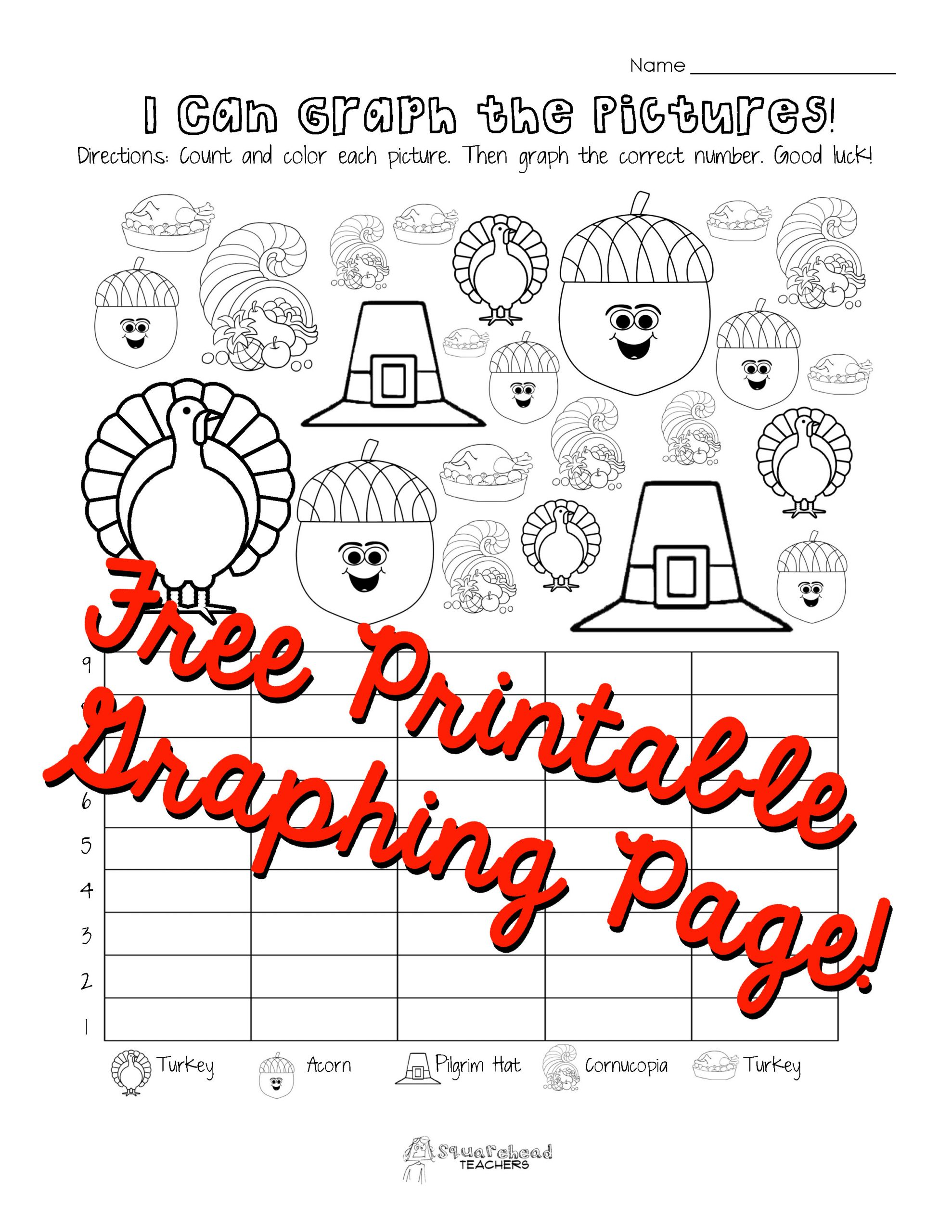 Thanksgiving Math Worksheets First Grade Thanksgiving Graphing Page Kindergarten First Grade