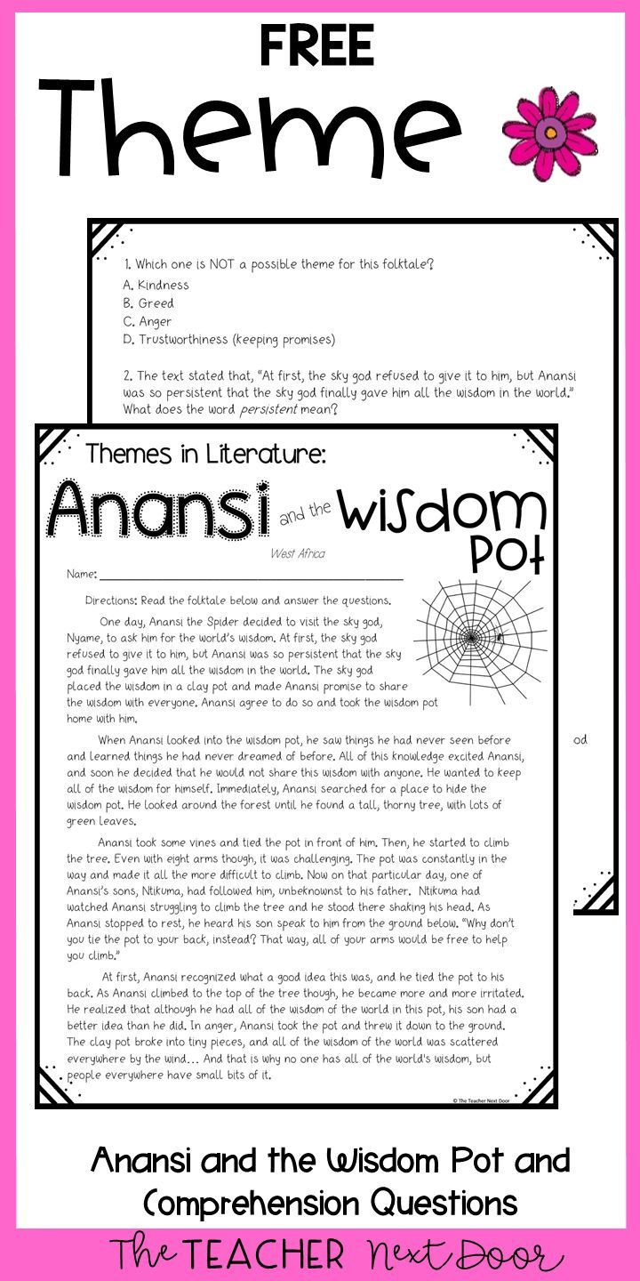 Theme Worksheet Middle School theme Freebie for 4th and 5th Grades