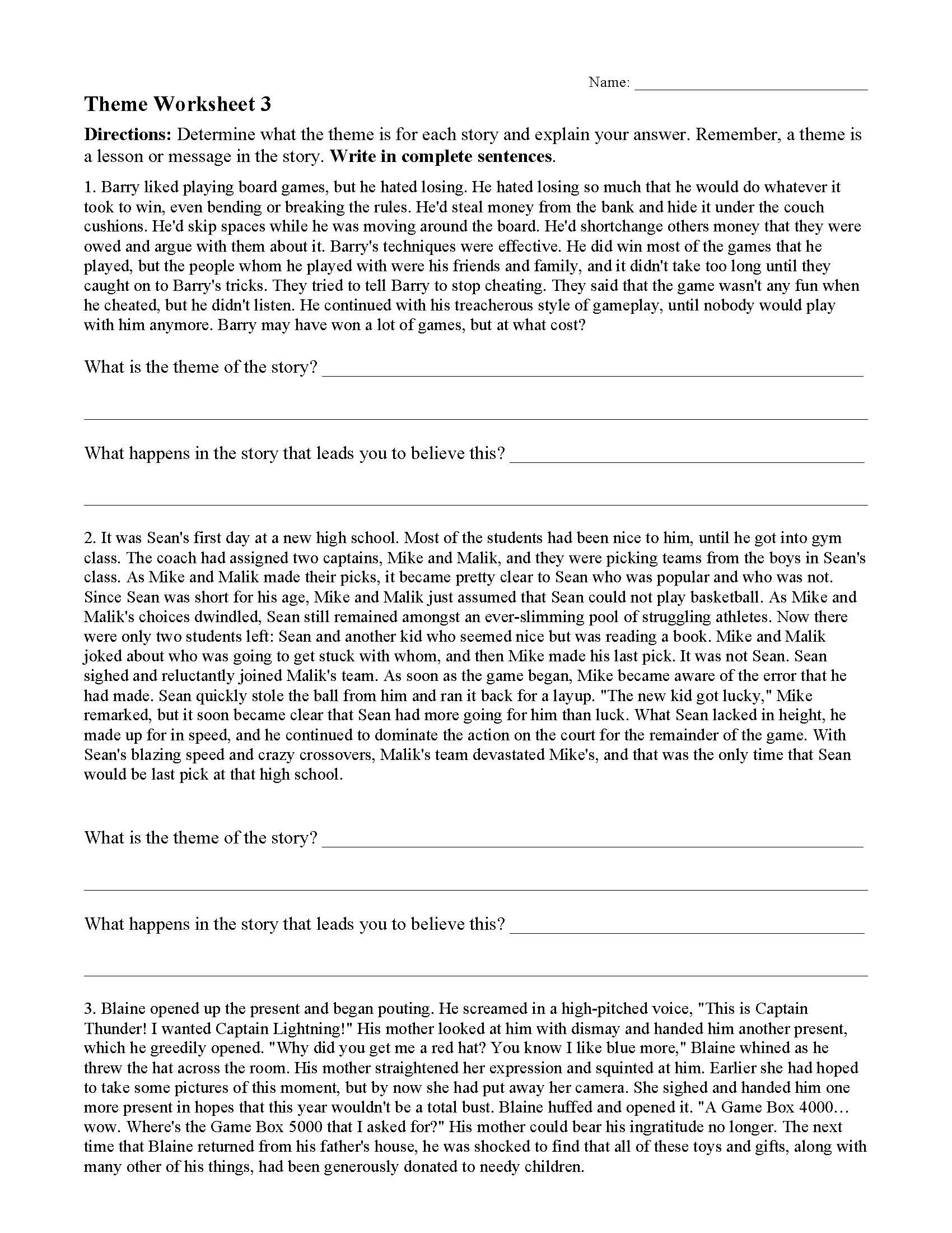Theme Worksheets 2nd Grade theme or Author S Message Worksheets